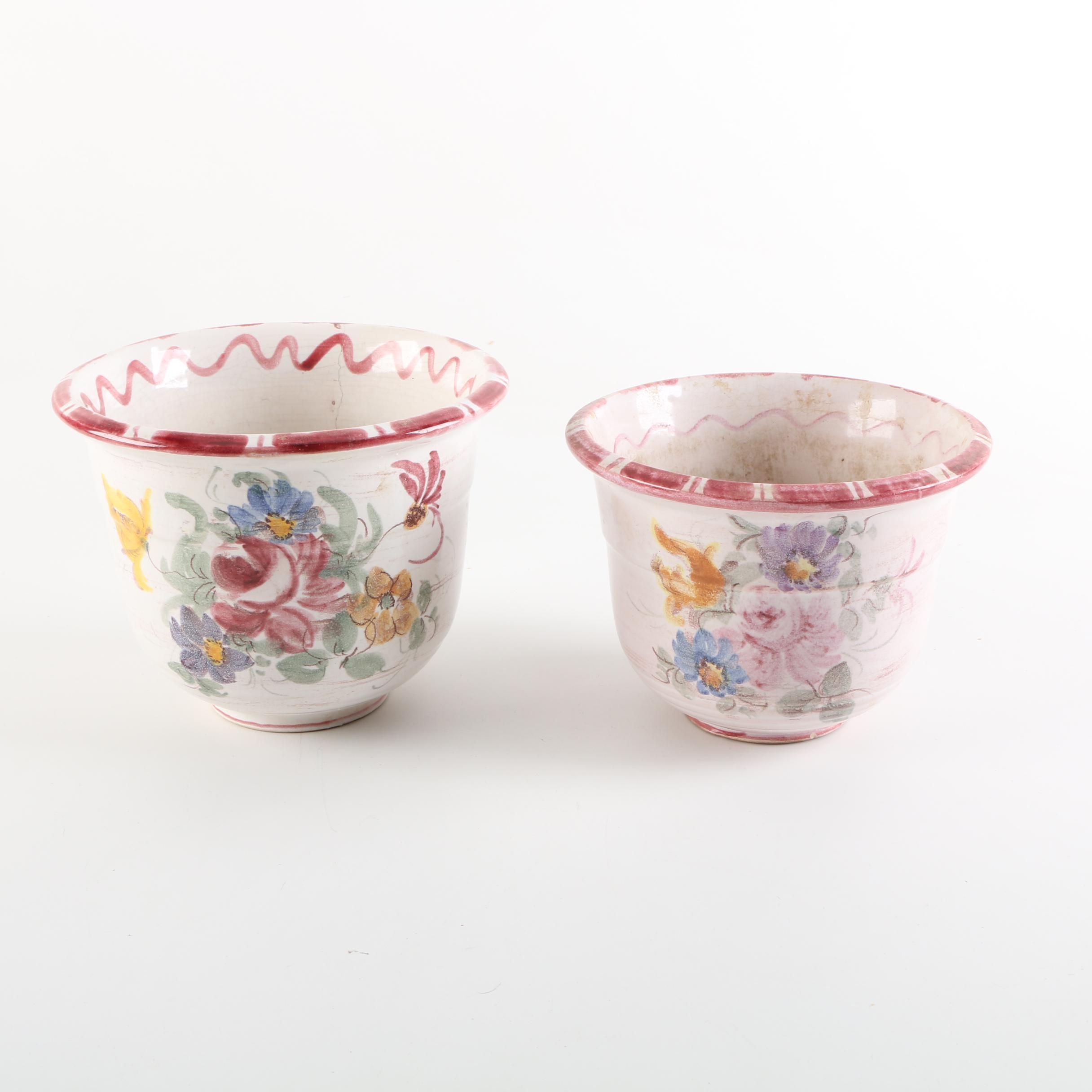 German Floral Ceramic Planters