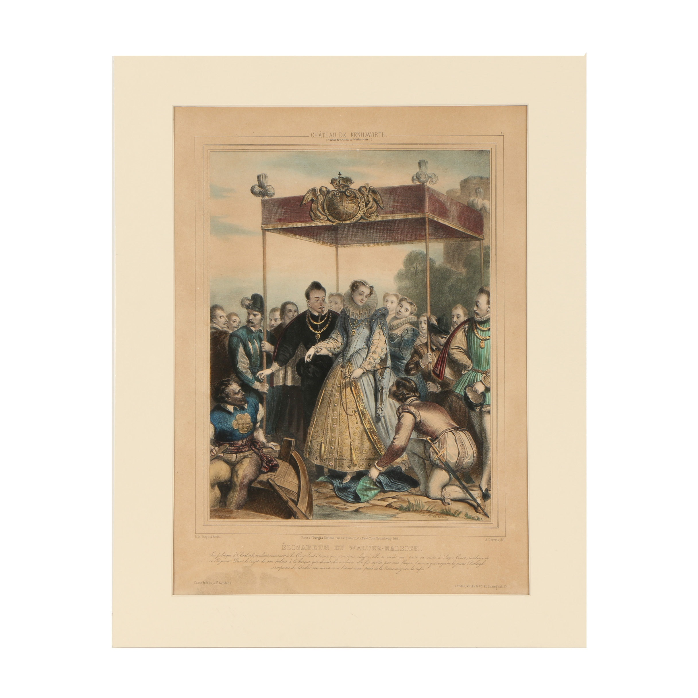 "Lithograph After Achille Deveria ""Elisabeth et Valter-Raleigh"""