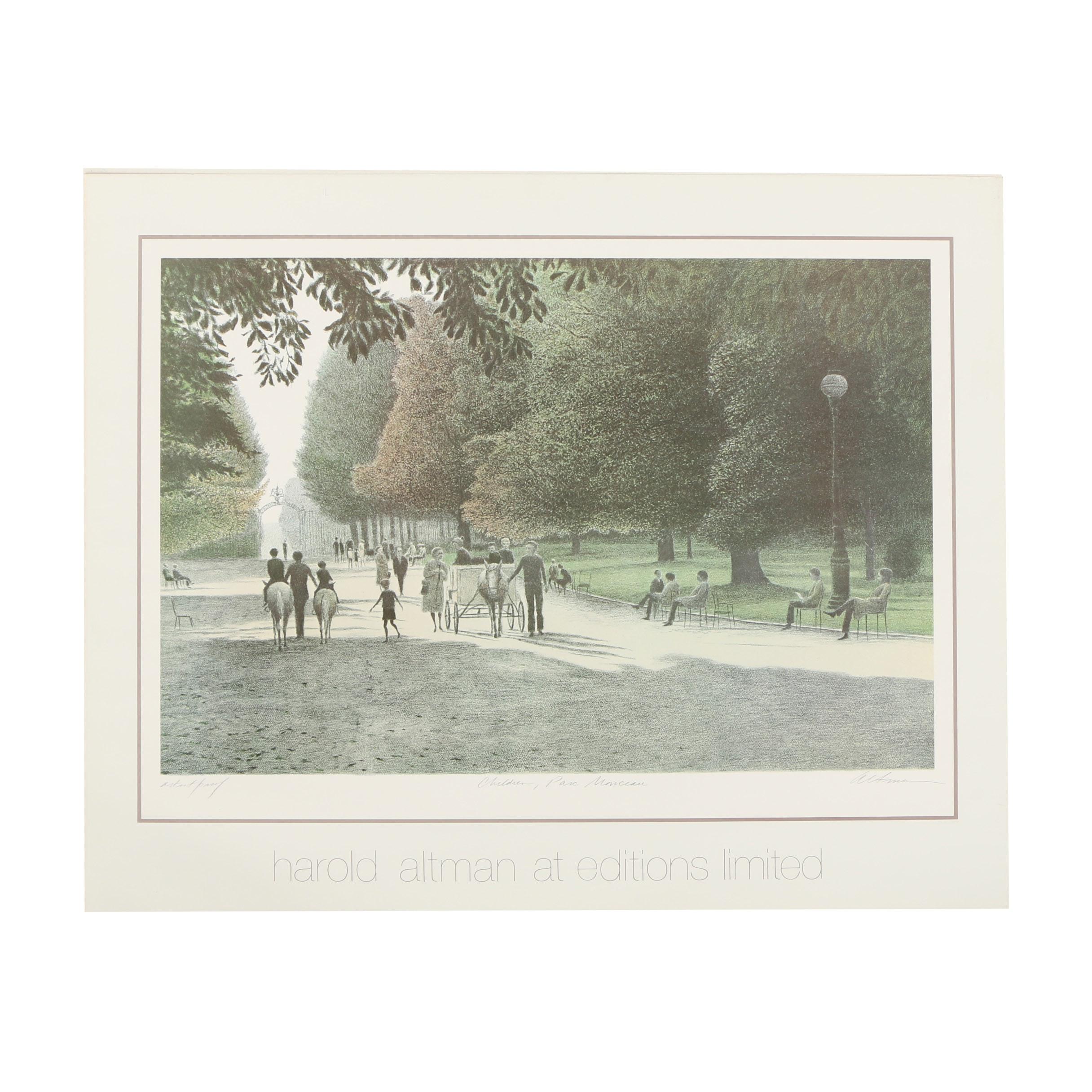 """Offset Lithograph Poster After Harold Altman """"Children, Parc Monceau"""""""