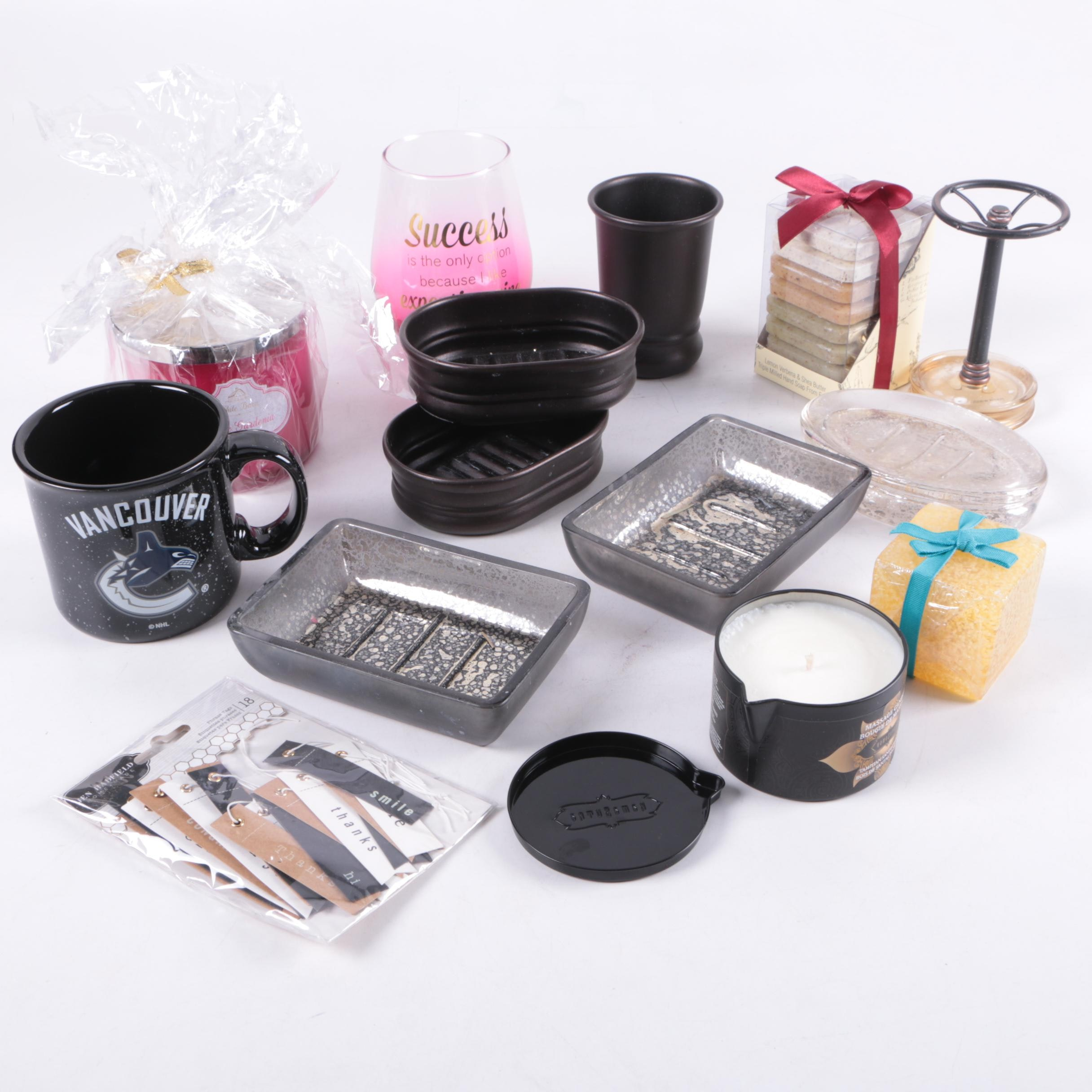 Bathroom Accessories Including Soap Dishes, Cups and a Toothbrush Holder