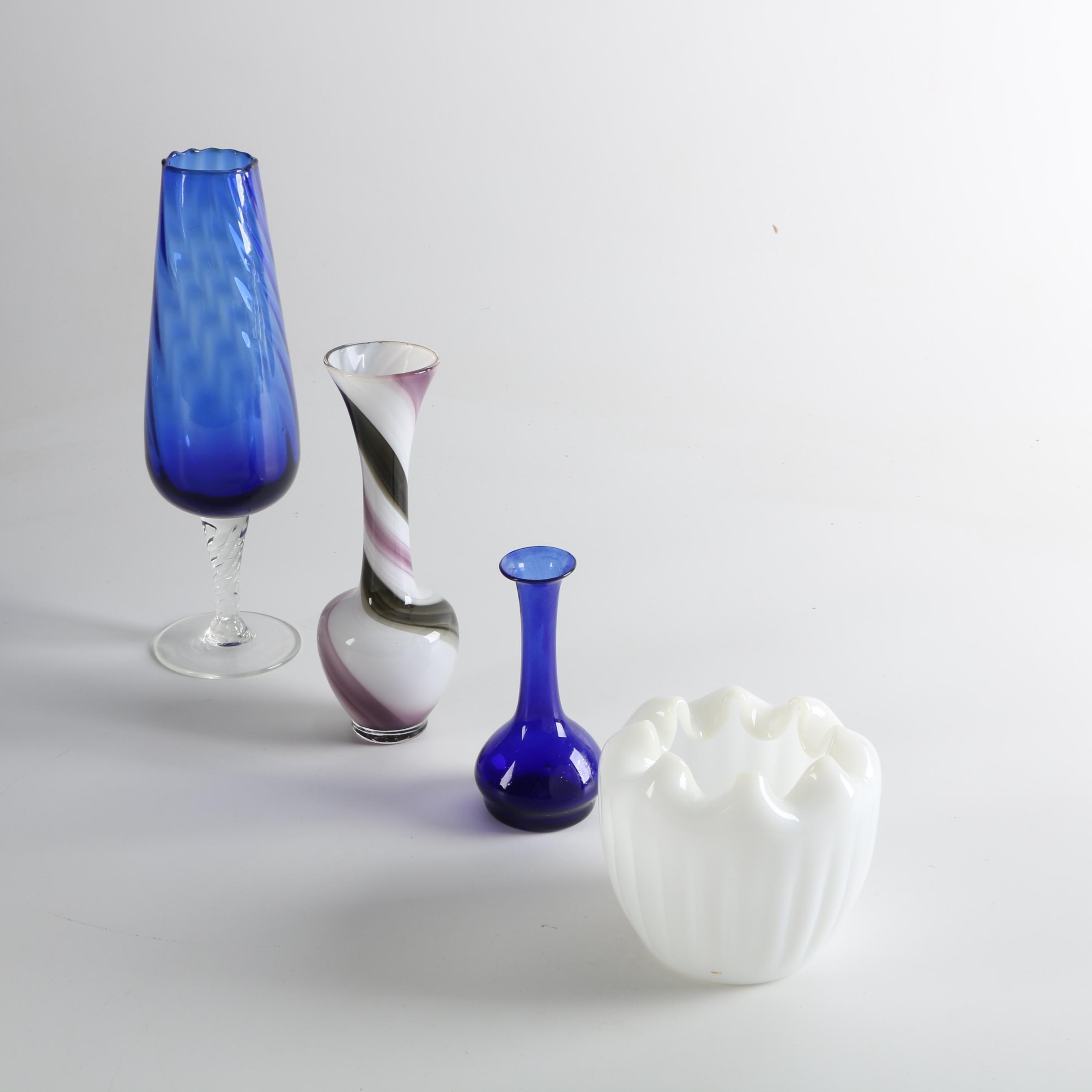 Hand Blown Vases with Milk Glass Votive Holder