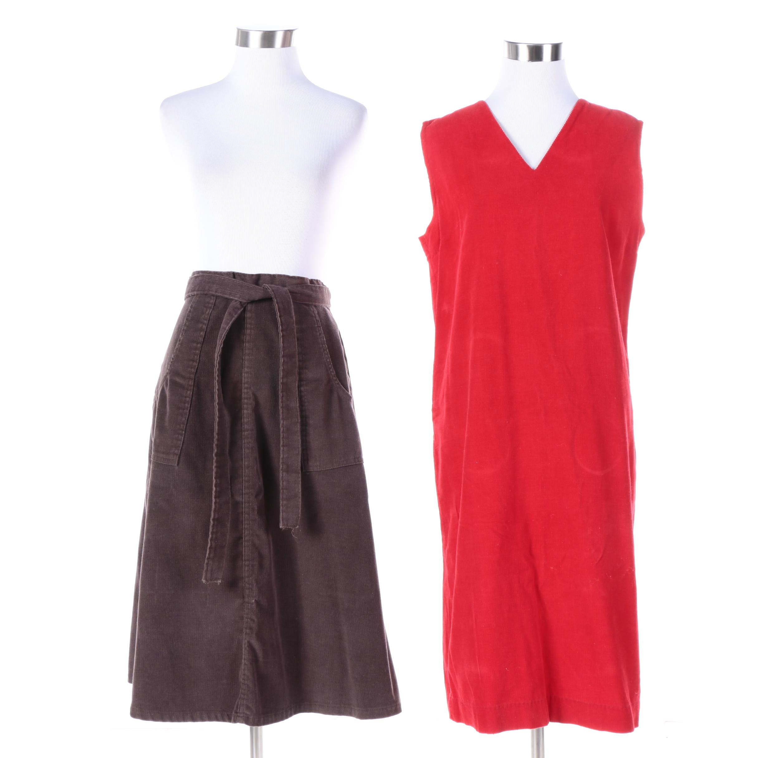 Vintage Corduroy Dress and Zayre Wrap Skirt