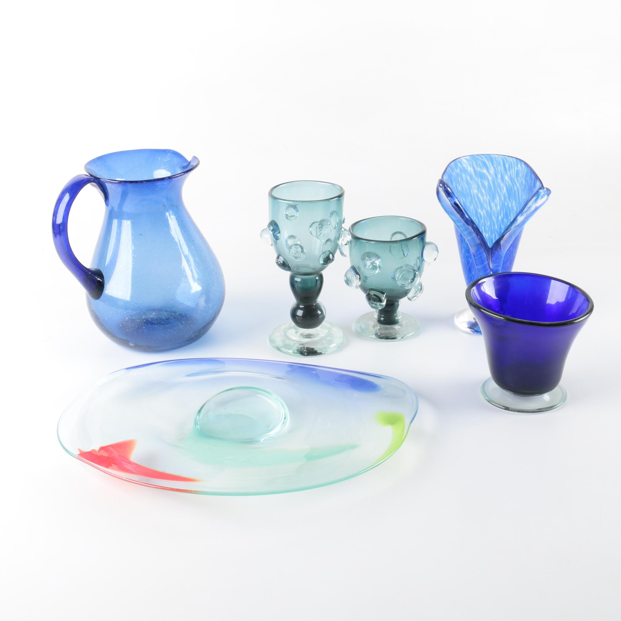 Hand Blown Art Glass Goblets with Tableware