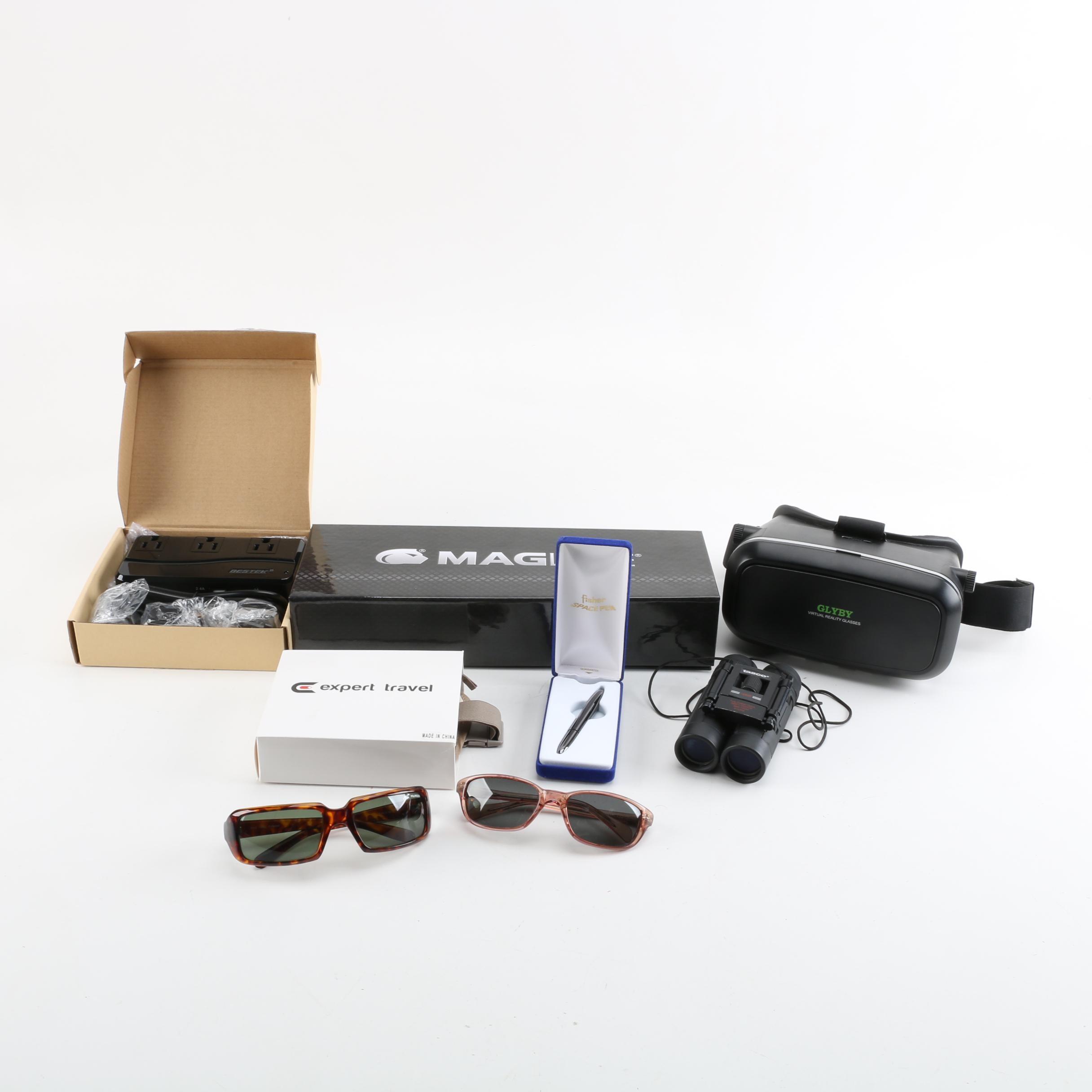 Fischer Space Pen, Tasco Binoculars, Maglite, Bestek Power Inverter and More