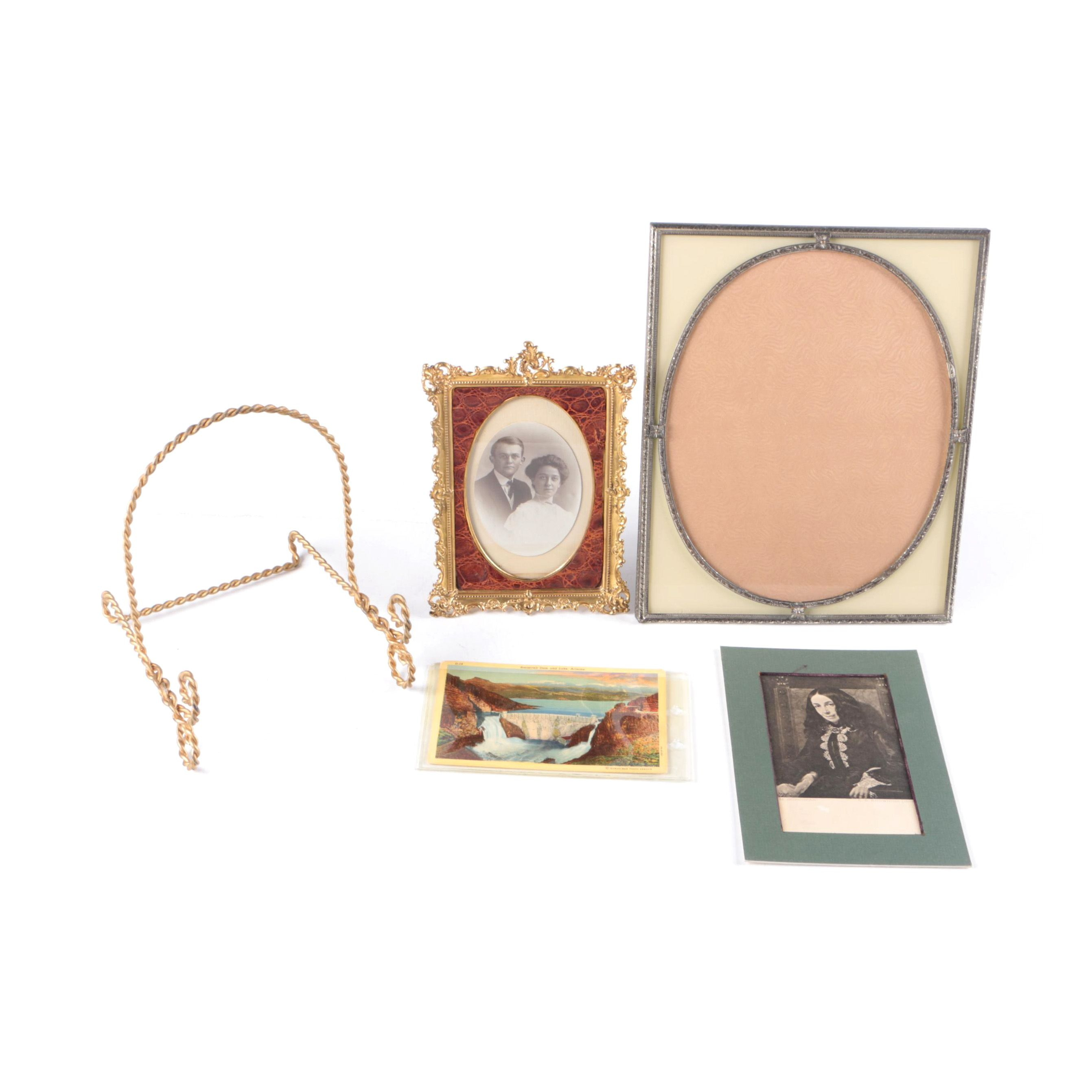 Picture Frames, Picture, Vintage Postcards and Plate Stand