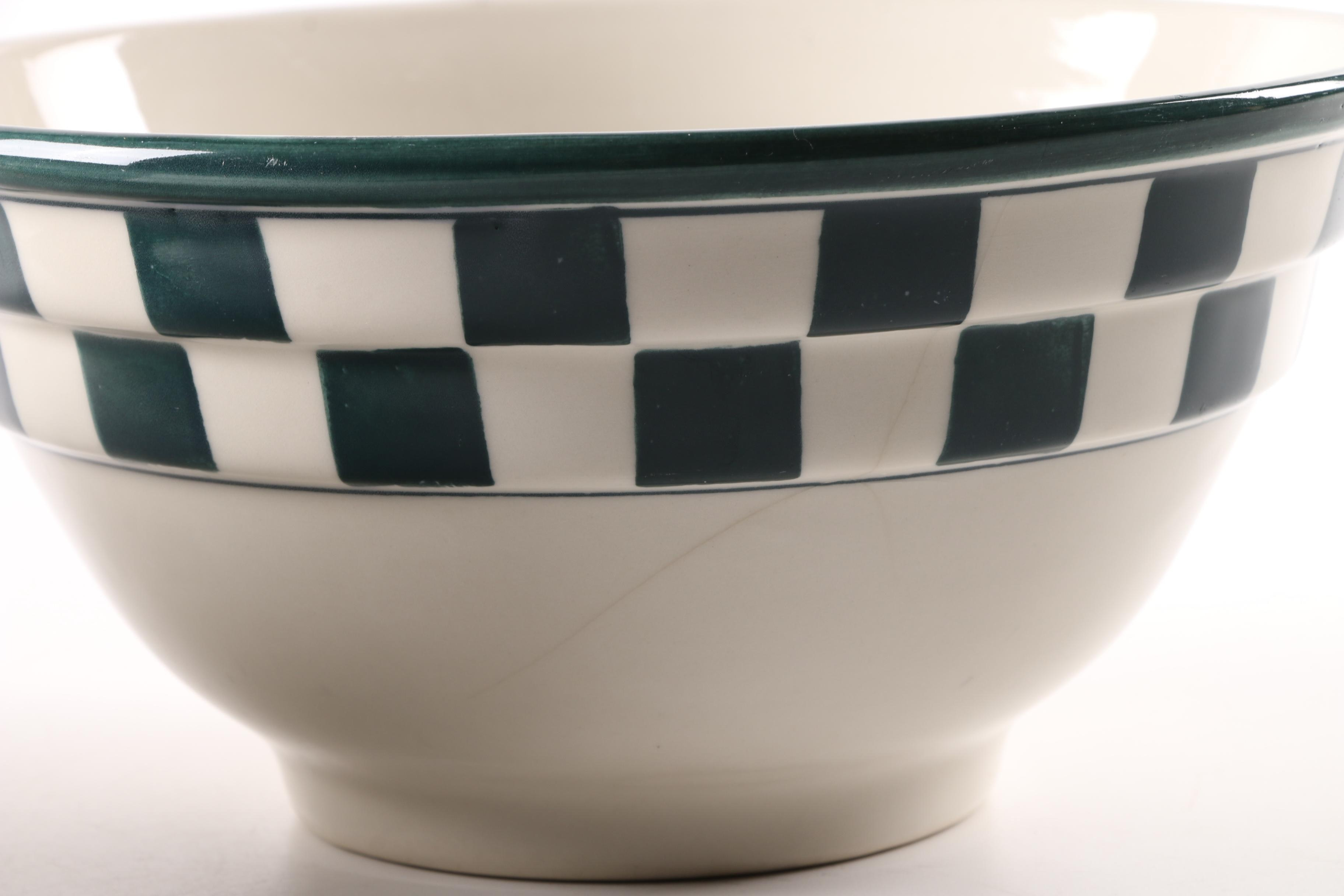 Hartstone Pottery Green and White Checkerboard Mixing Bowls