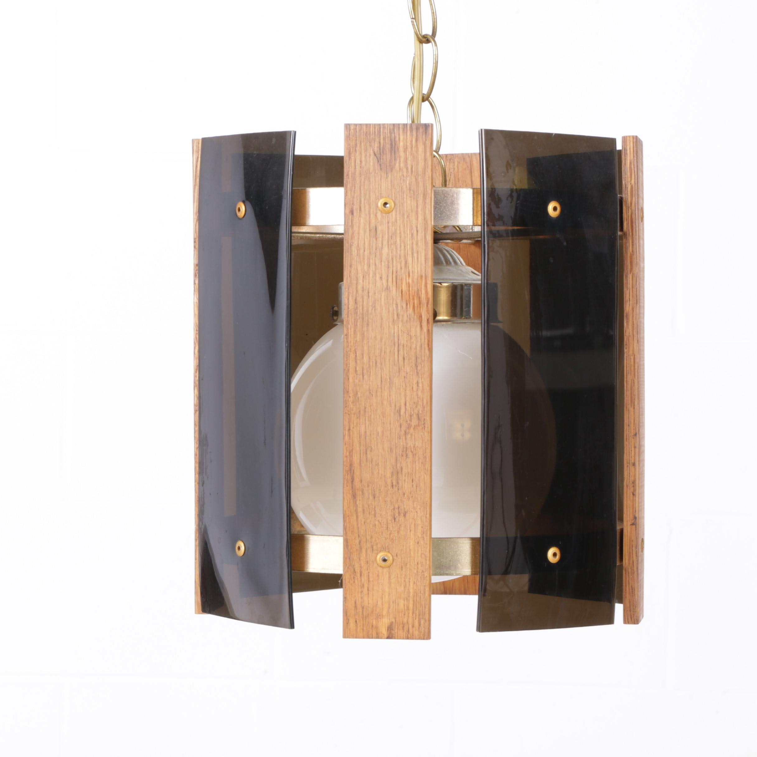 Wood and Glass Contemporary Style Pendant Light