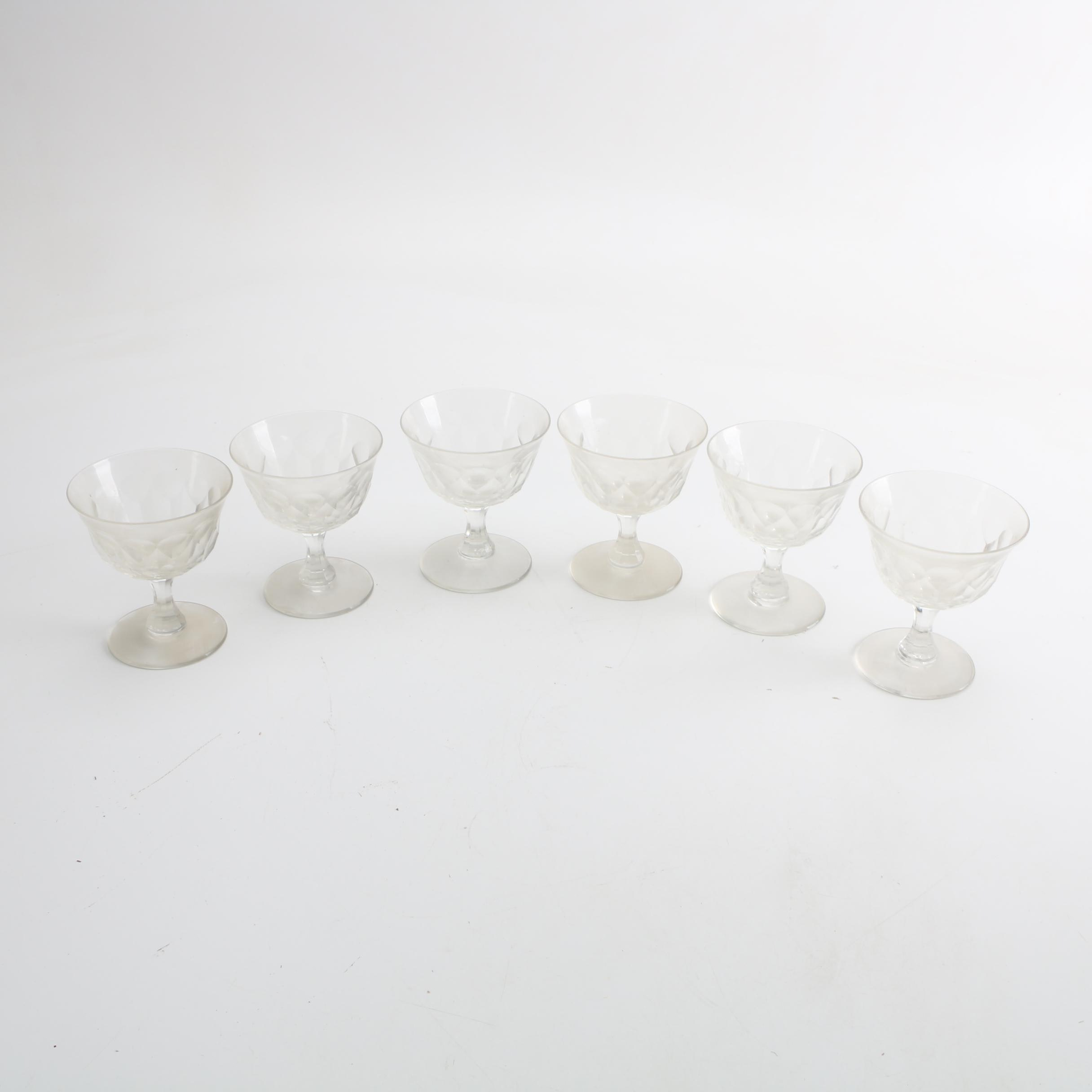 Footed Panel Cut Crystal Cocktail Glasses