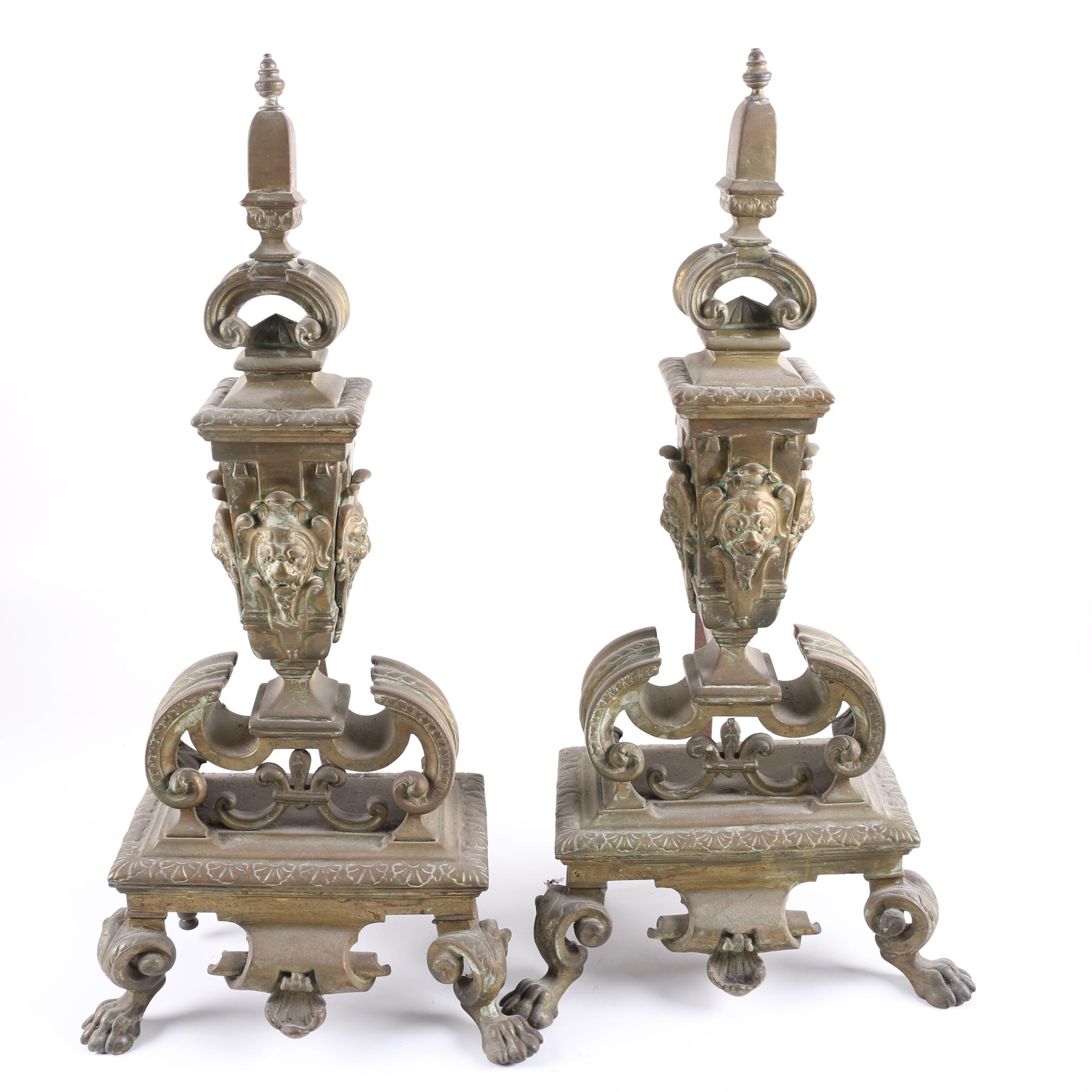 Antique Baroque Brass Andirons