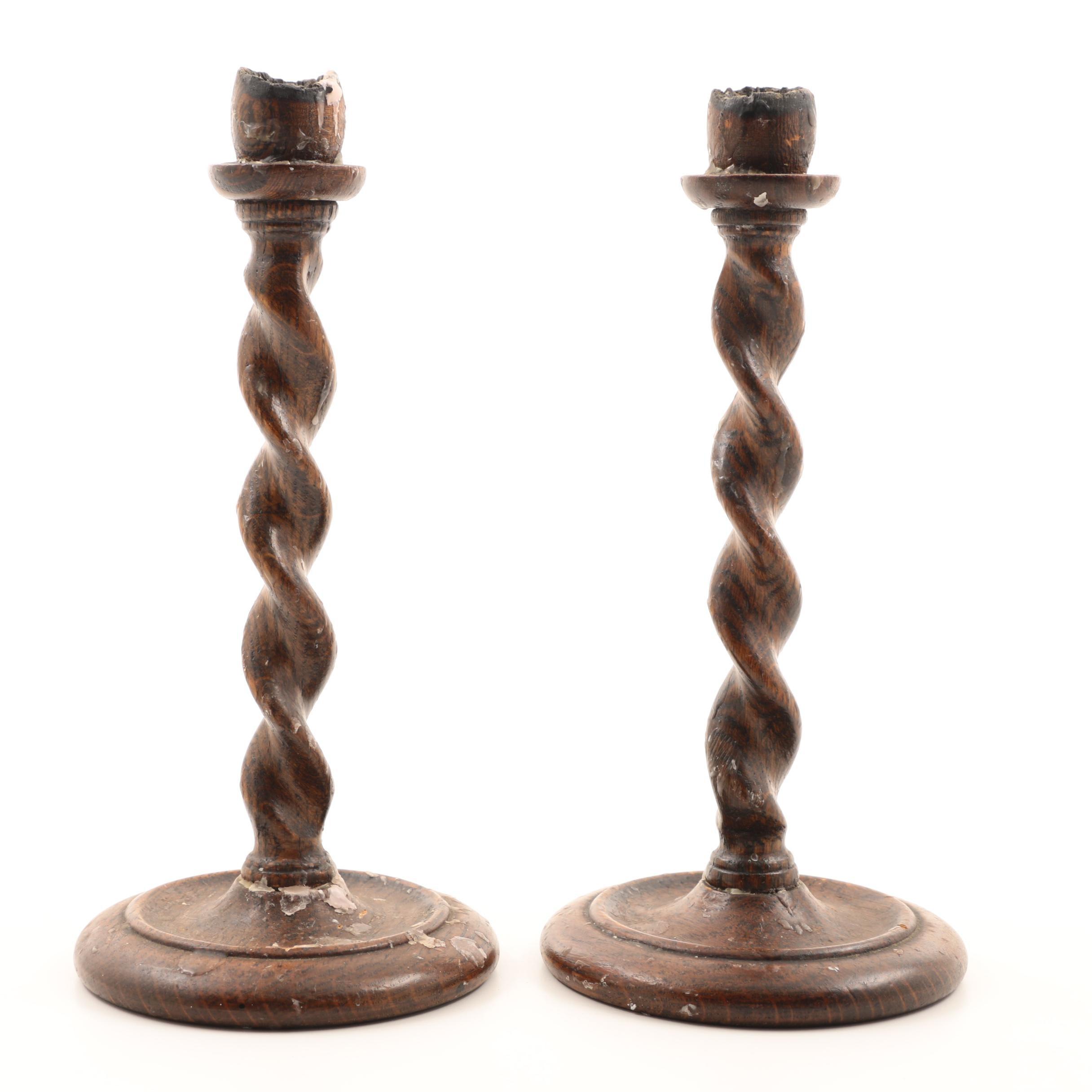 Pair of Barley Twist Oak Candlesticks