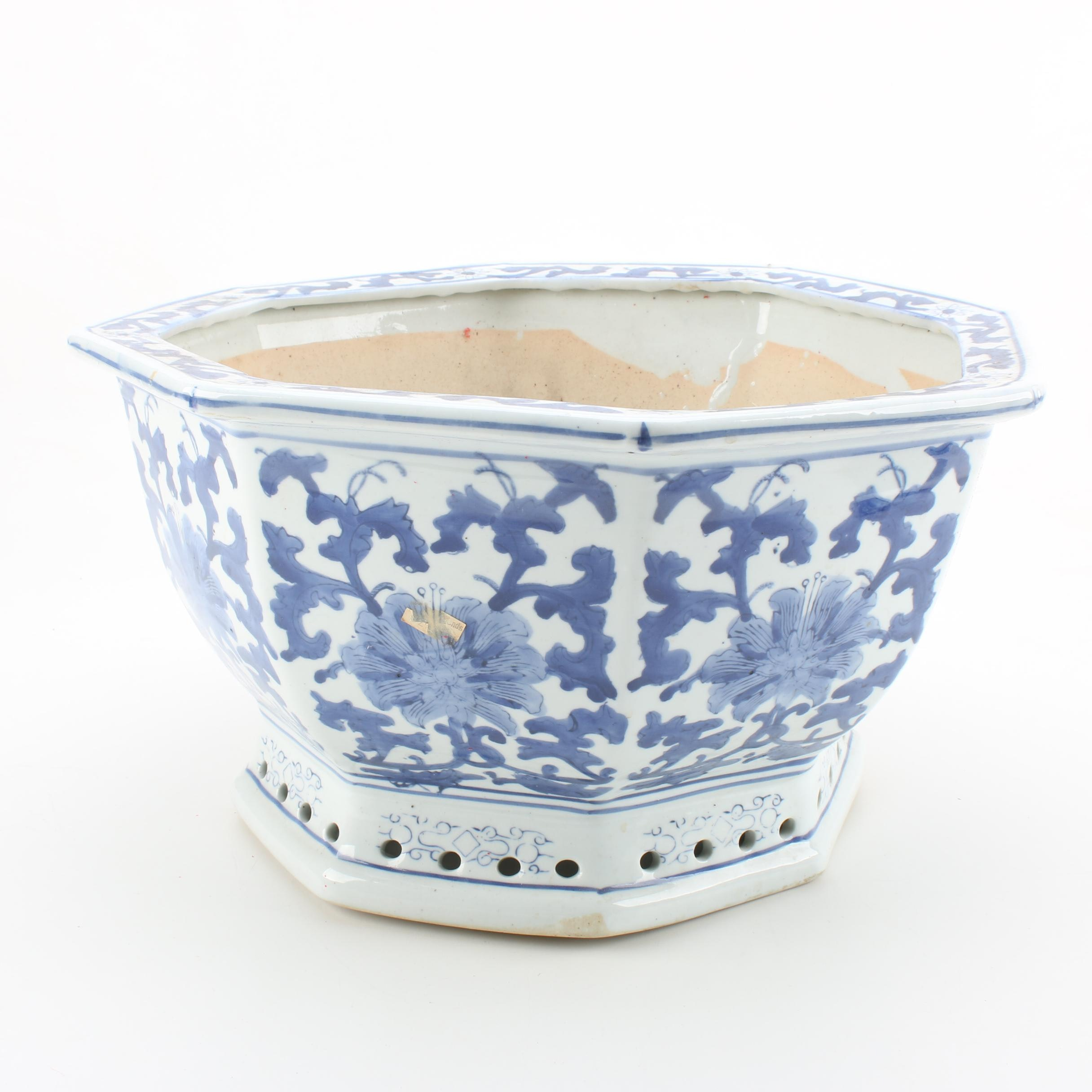 Chinese Ceramic Blue and White Floral Planter
