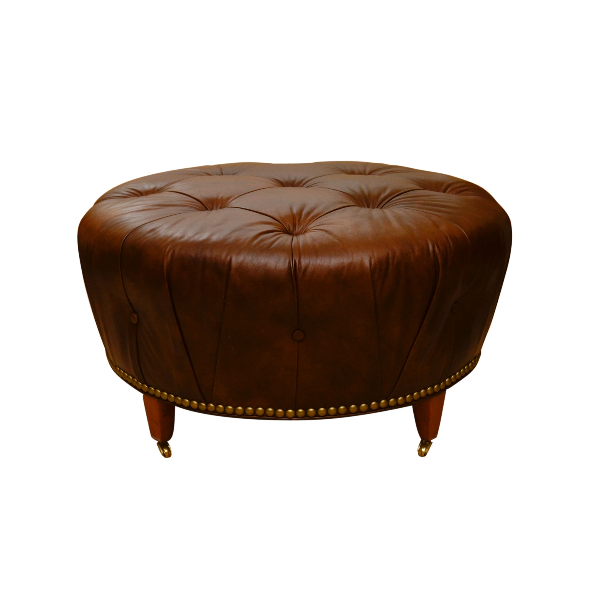 Vintage Button-Tufted Leather Ottoman