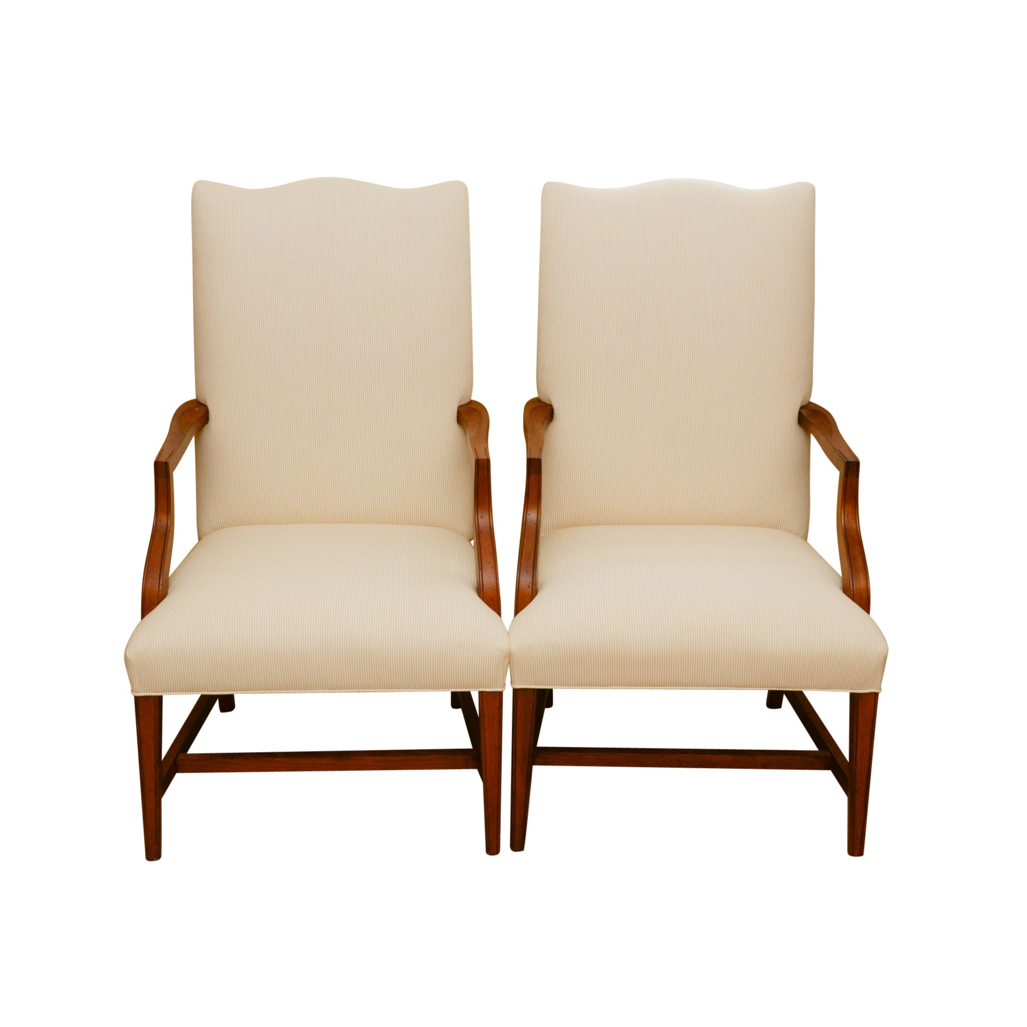 Upholstered Library Style Armchairs with Seat Covers by Ethan Allen