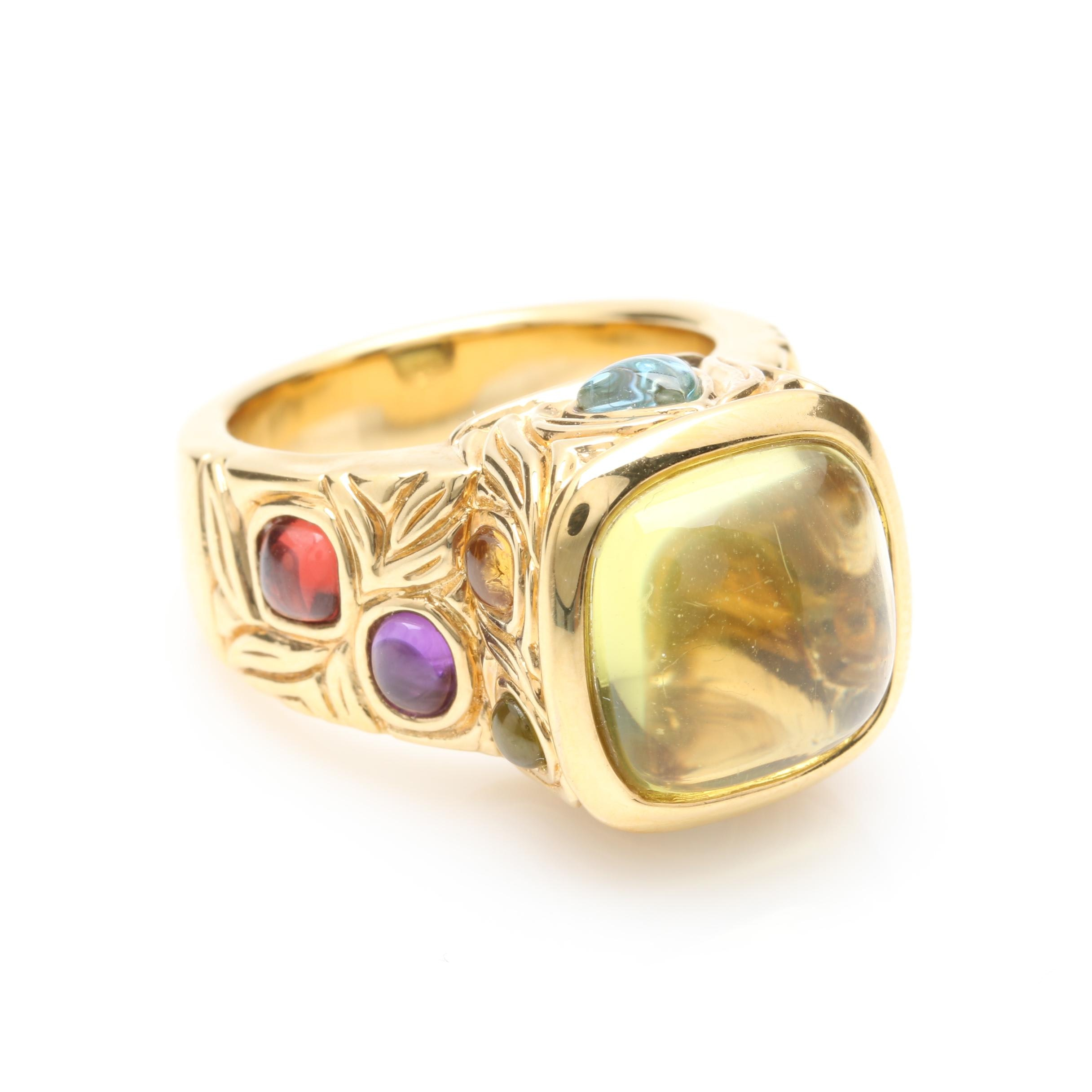 14K Yellow Gold Gemstone Ring