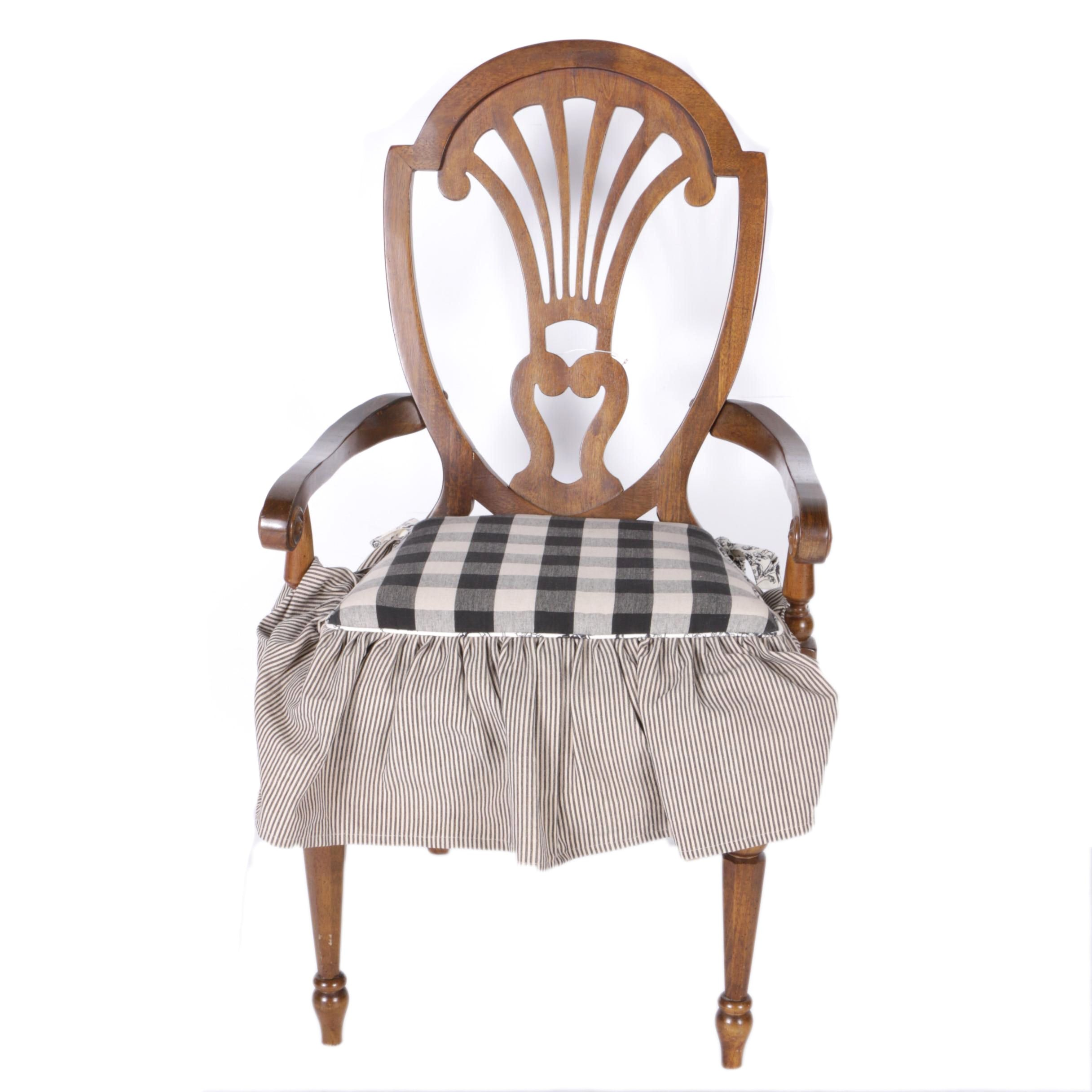 Hepplewhite Style Arm Chair With Upholstered Seat
