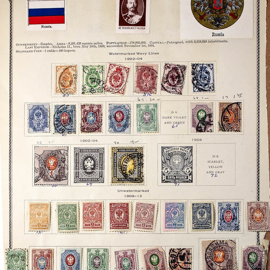 Collection of Antique and Vintage Russian Stamps