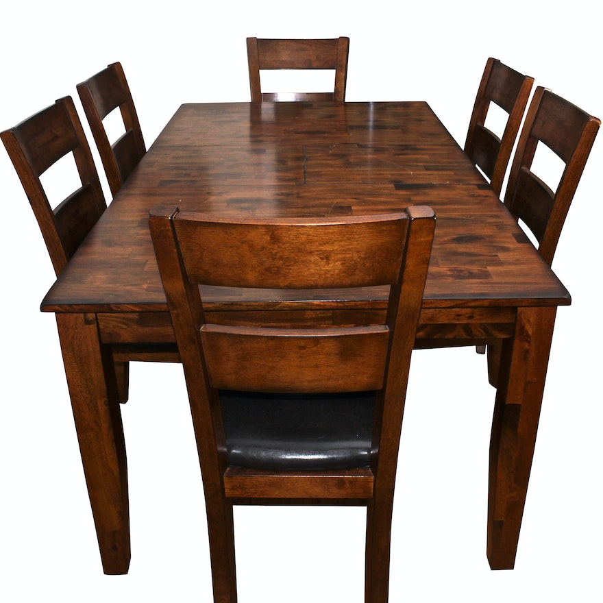 Dining Room Table With Leaf: Wooden Leaf Dining Room Table And Chairs