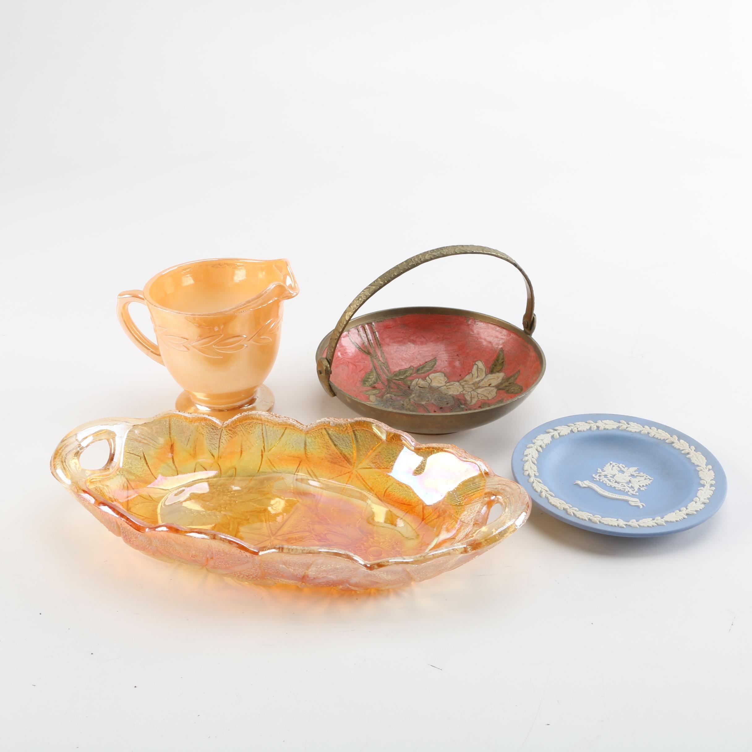"Wedgwood Jasperware Plate, Fire-King ""Peach Laurel Lustre"" Creamer and More"