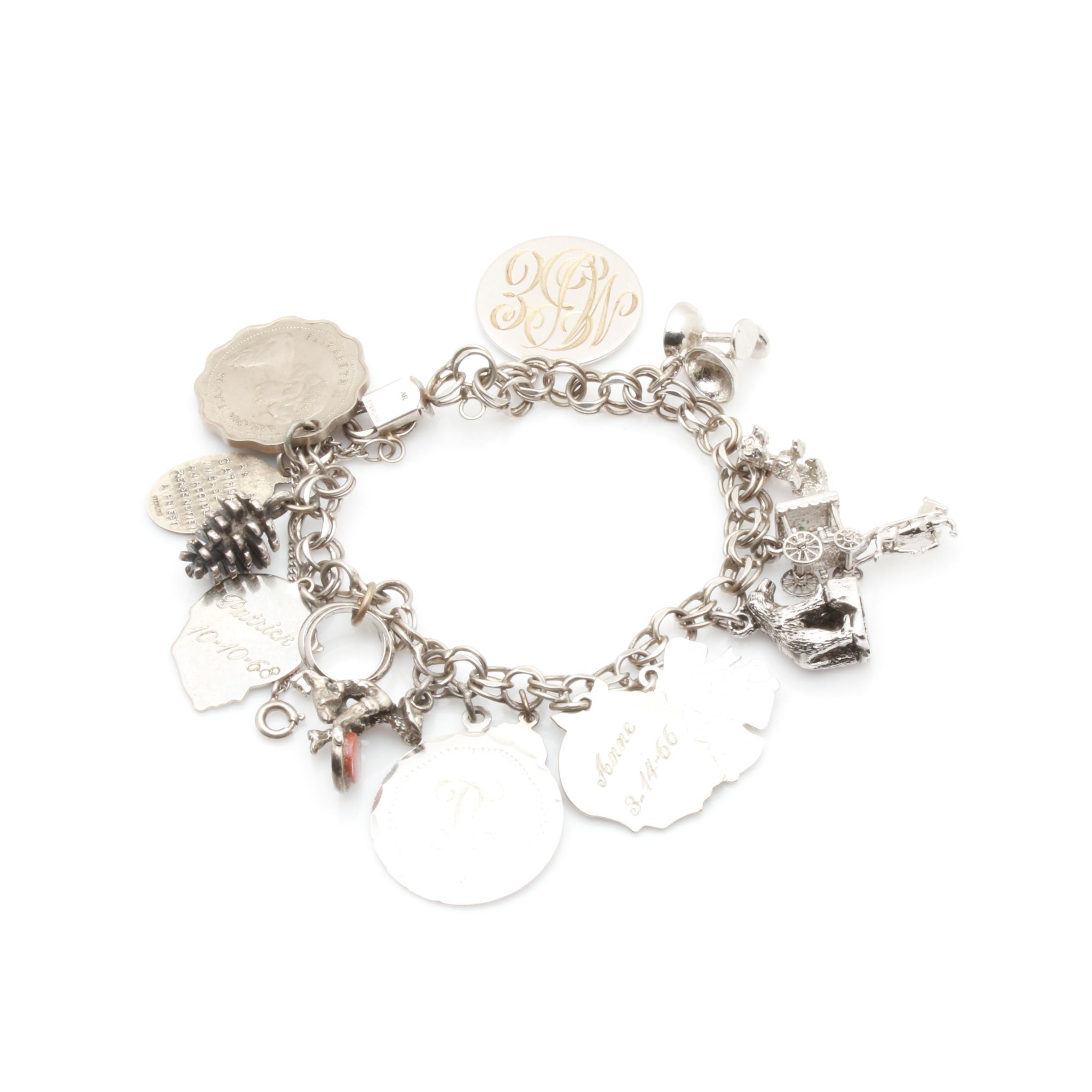 Sterling Silver Gold Stone, Enamel and Foilback Charm Bracelet