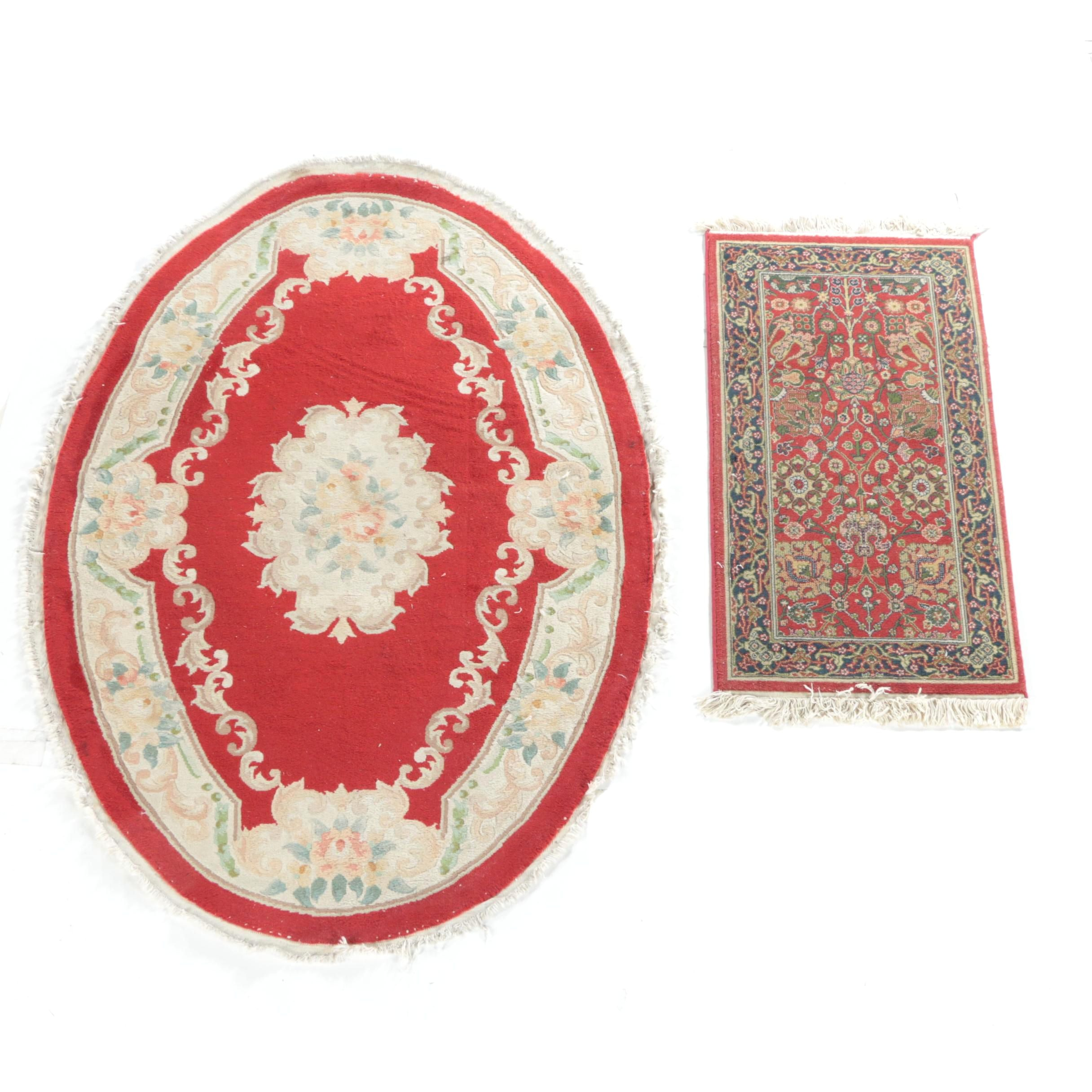 Hand-Knotted Chinese Area Rug and Power-Loomed Turkish Accent Rug