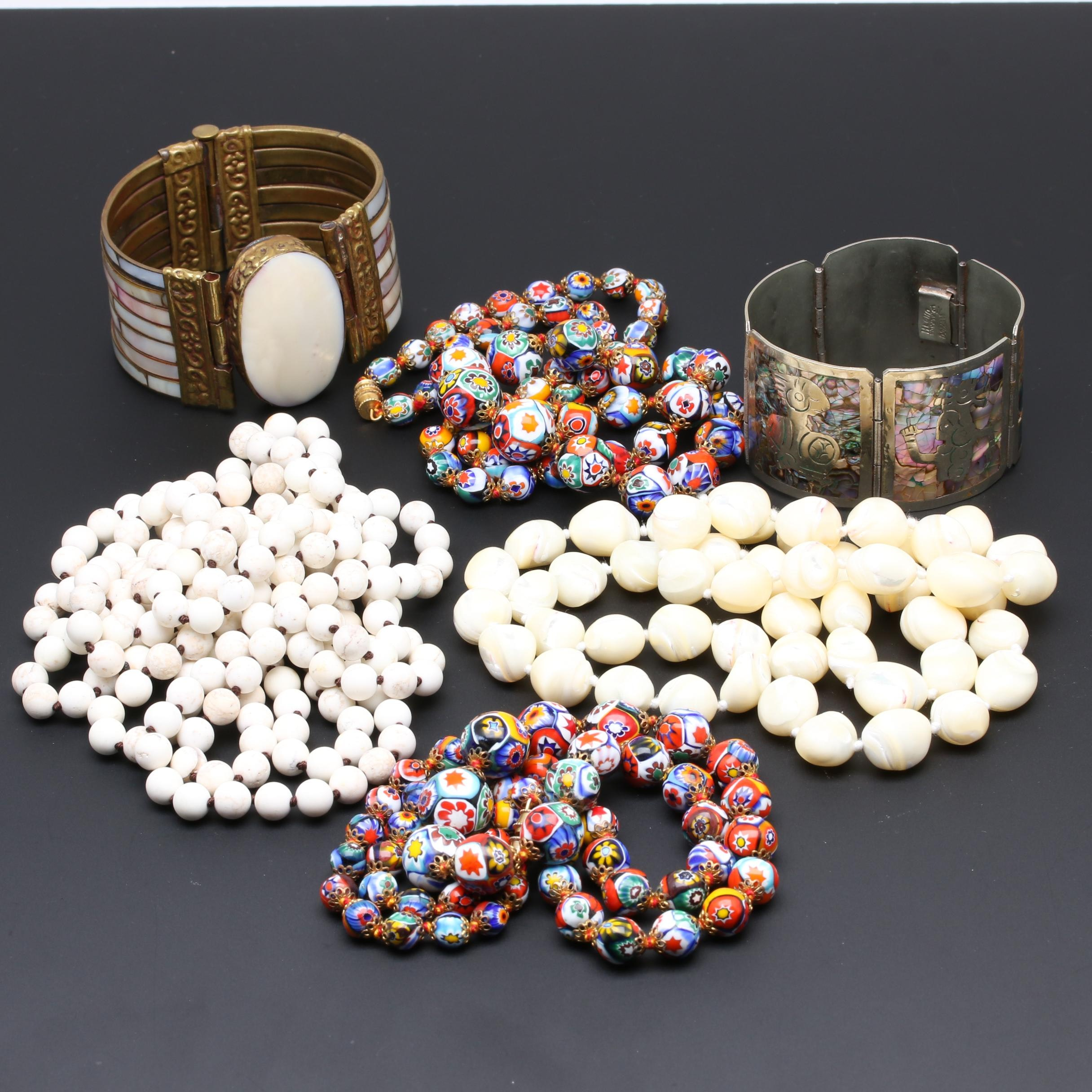 Assortment of Jewelry Including Abalone and Millefiori Glass