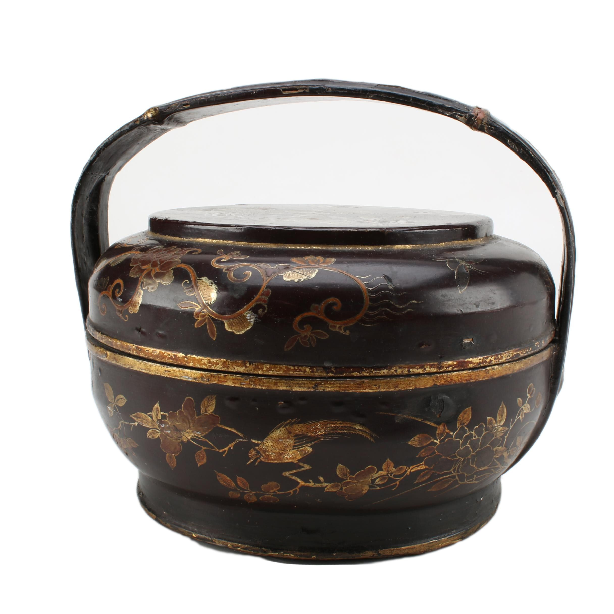 Chinese Painted Wooden Basket with Lid and Handle