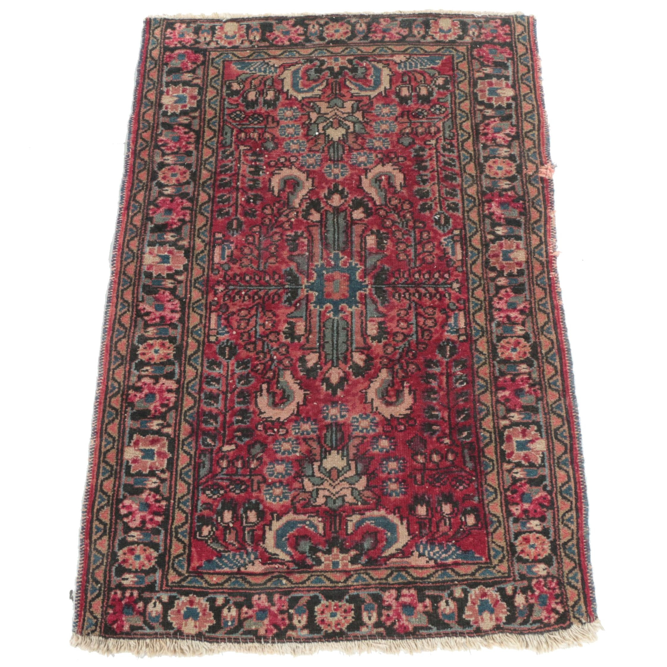Semi-Antique Hand-Knotted Persian Mehriban Accent Rug