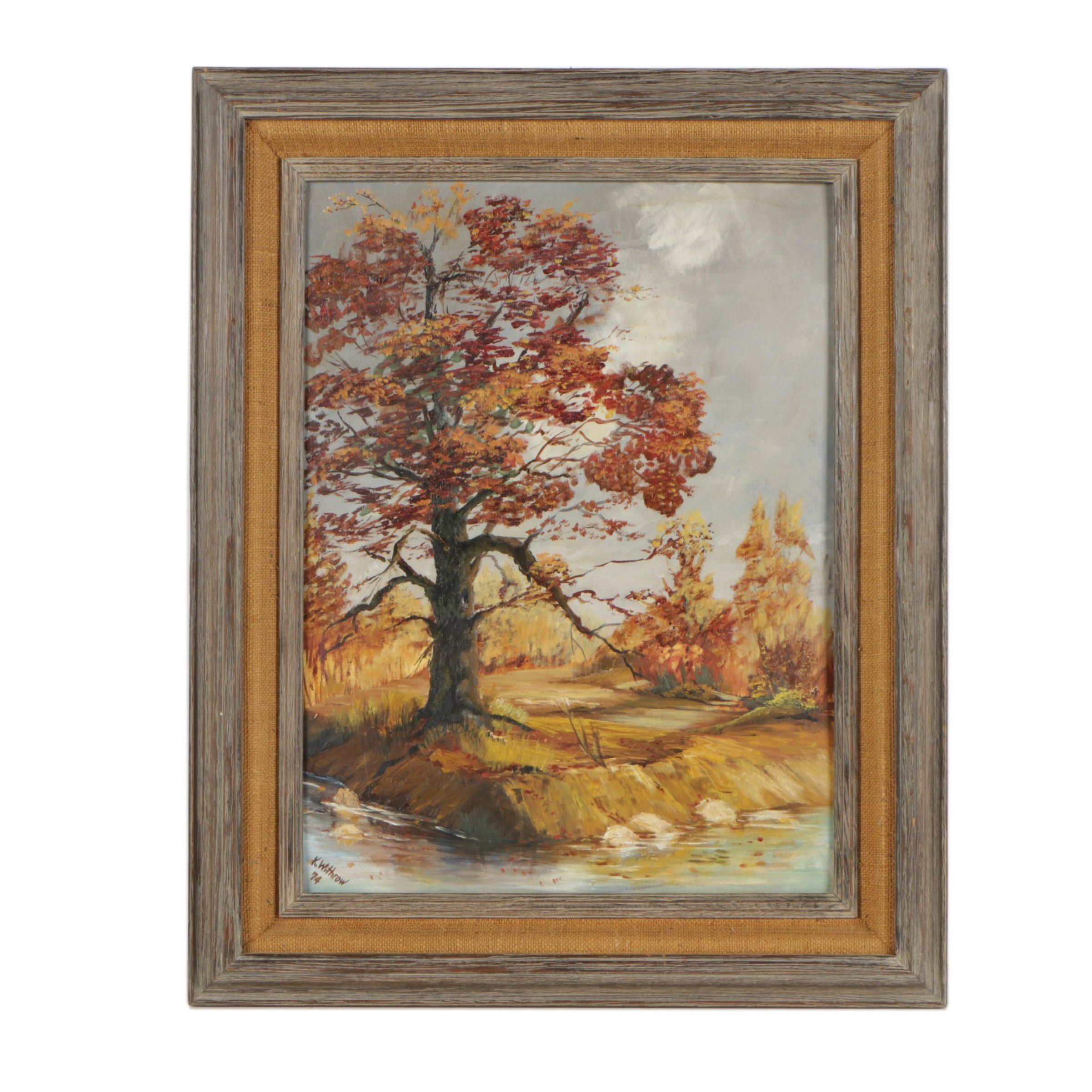 K. Withrow 1974 Oil Painting of Autumn River Landscape