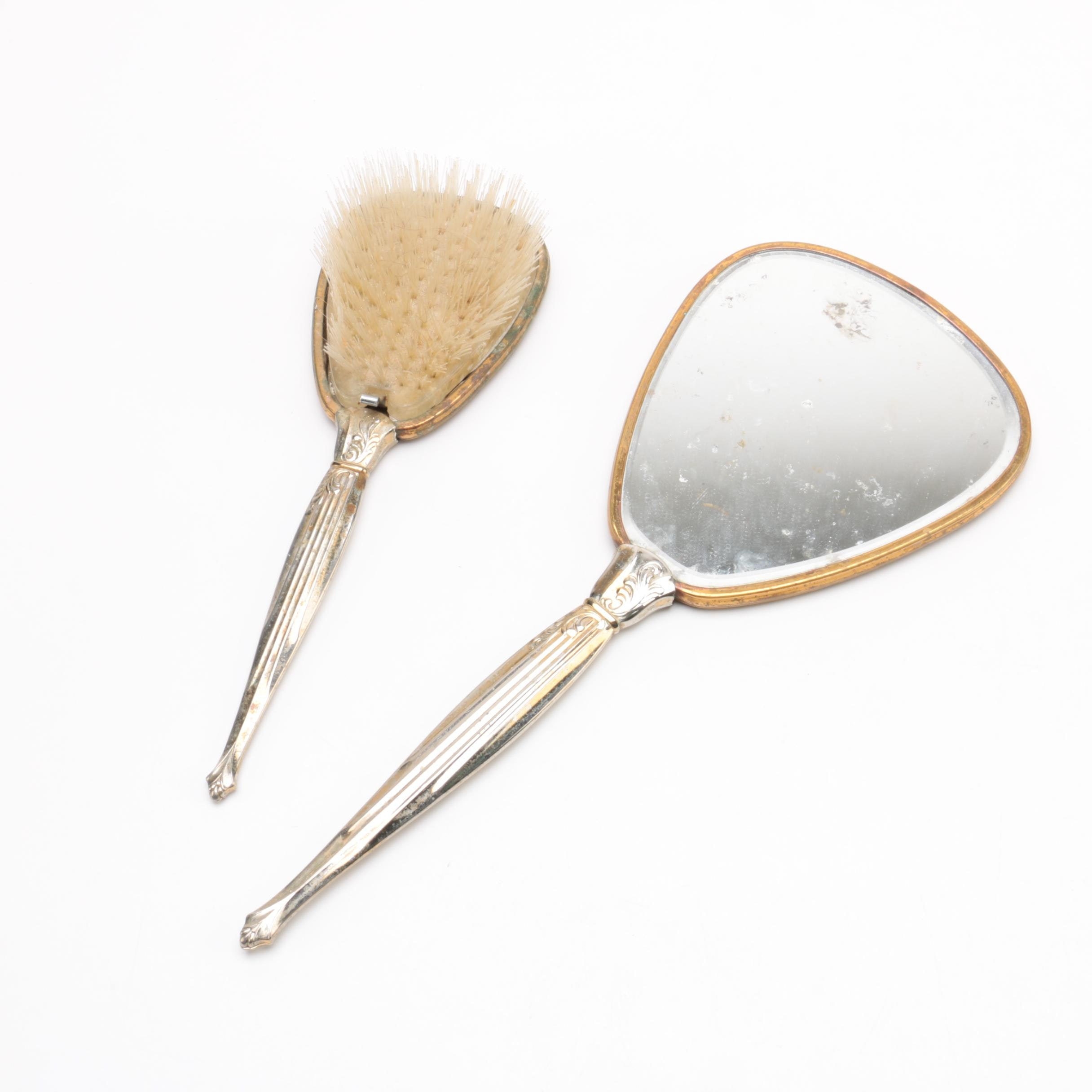 Silver Plate Vanity Hand Mirror and Hairbrush Set