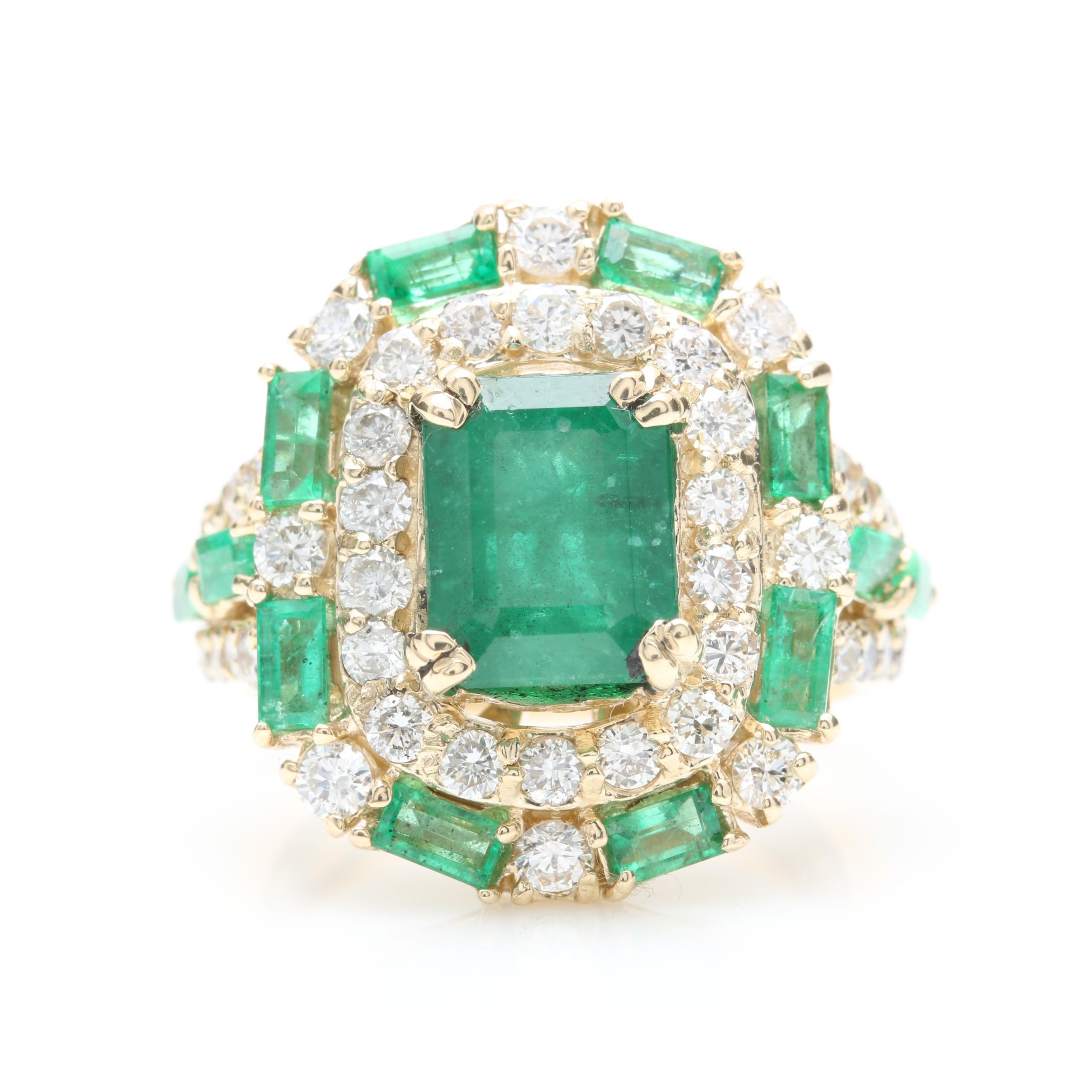 14K Yellow Gold 2.50 CT Emerald and 1.04 CTW Diamond Statement Ring