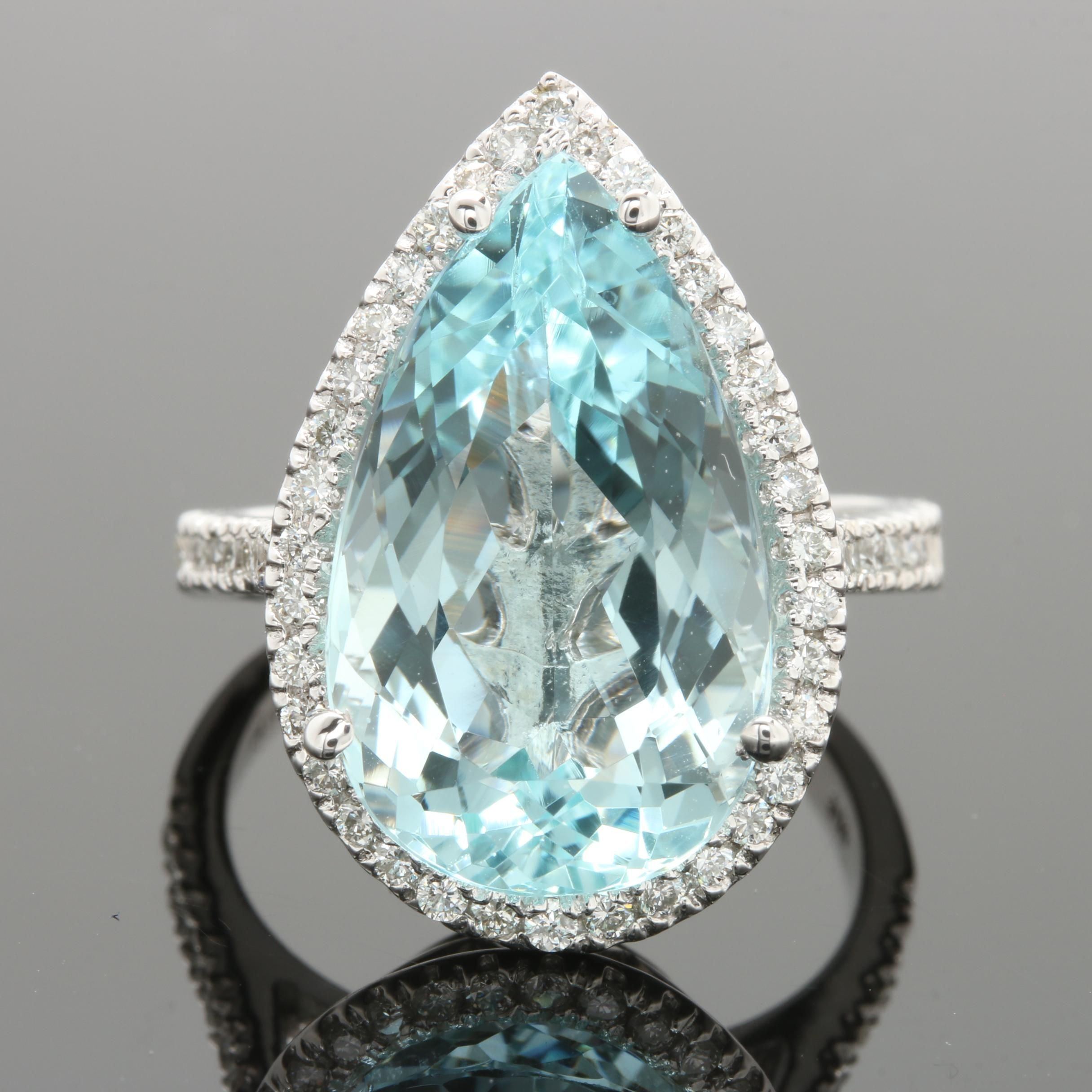 14K White Gold 7.69 CT Aquamarine and Diamond Ring