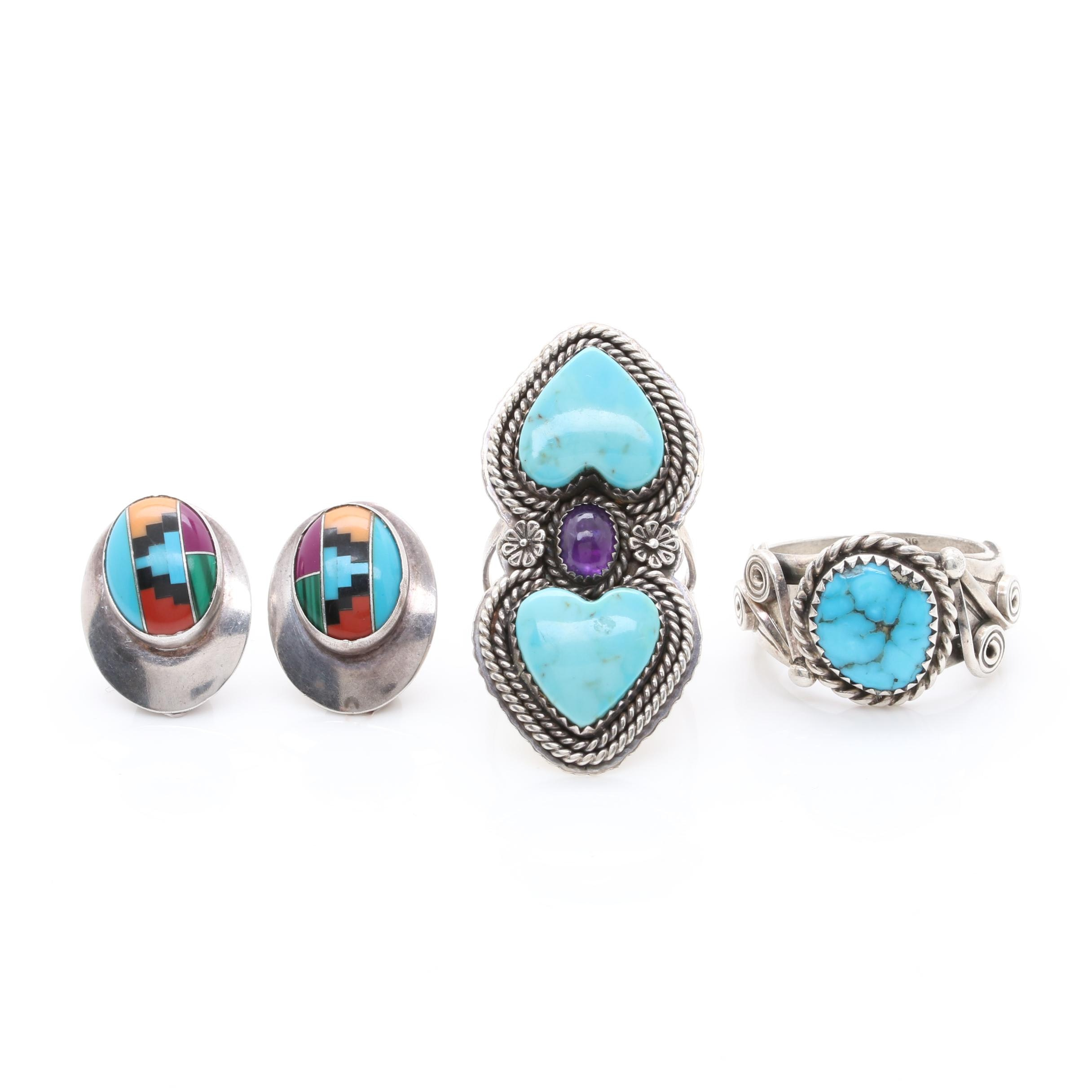 Southwestern Style Sterling Silver Jewelry Including Lila Yaxakia Zuni