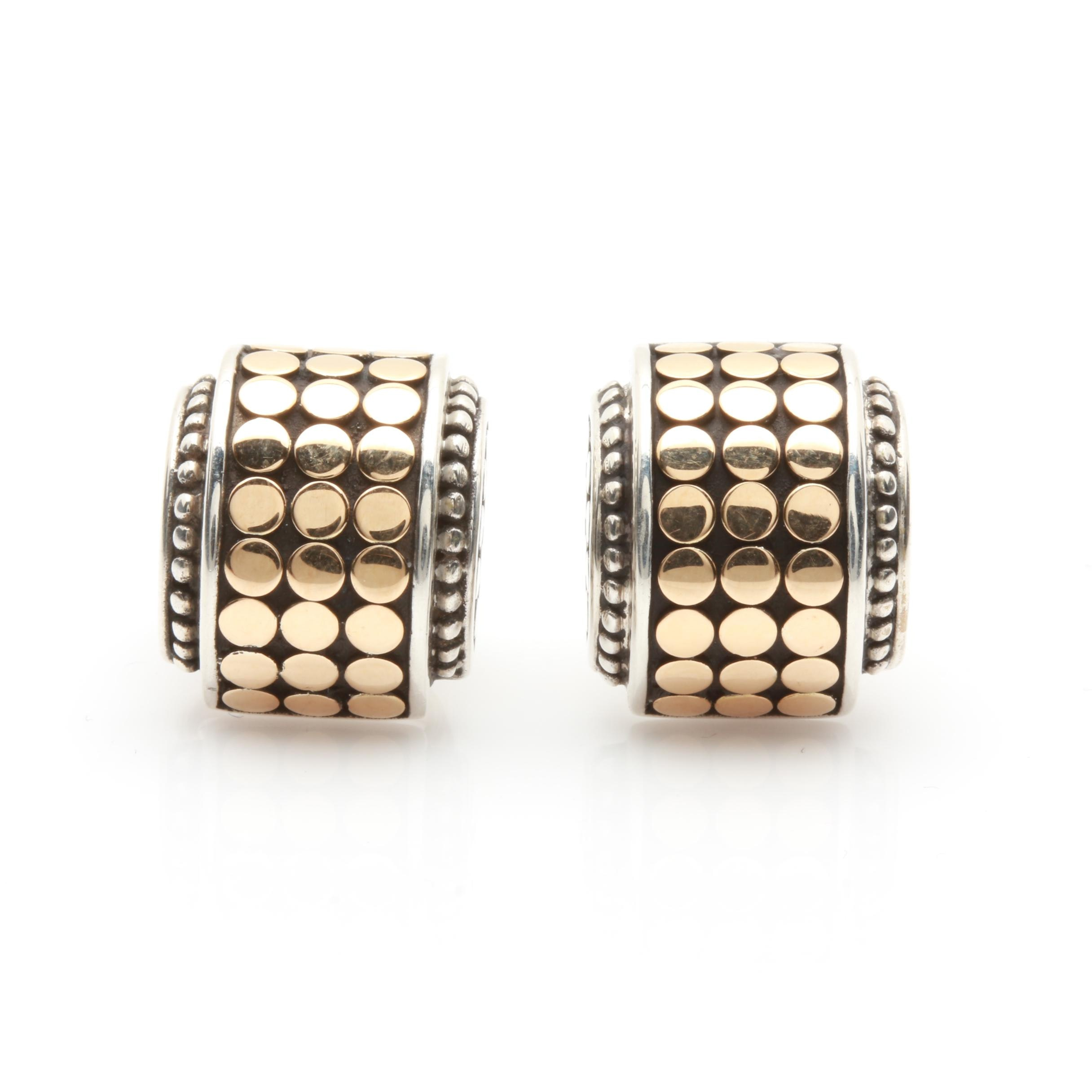 John Hardy Dot Collection Sterling Silver Earrings with 18K Yellow Gold Accents