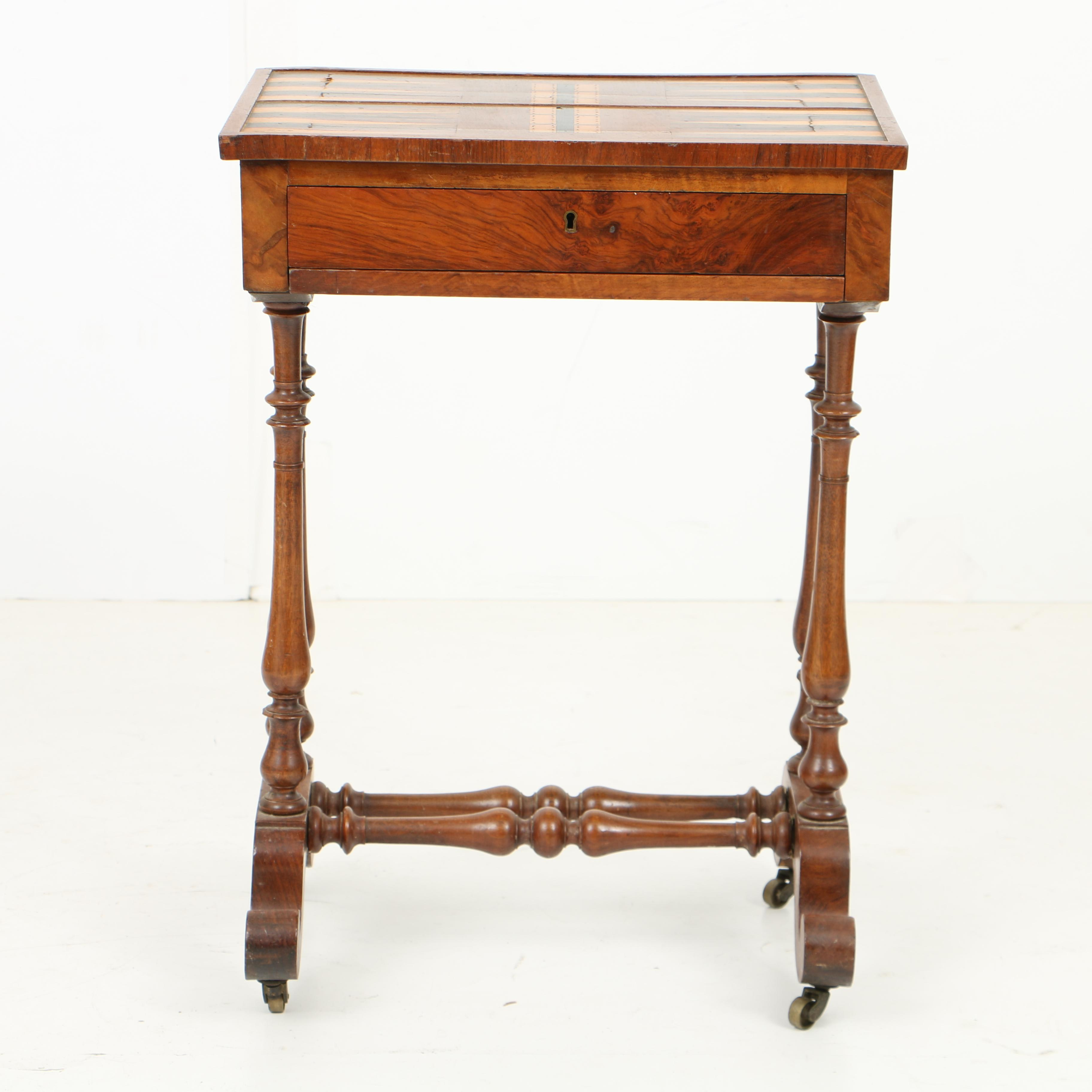 Antique Game or Work Table with Parquetry Top, Mid 19th Century