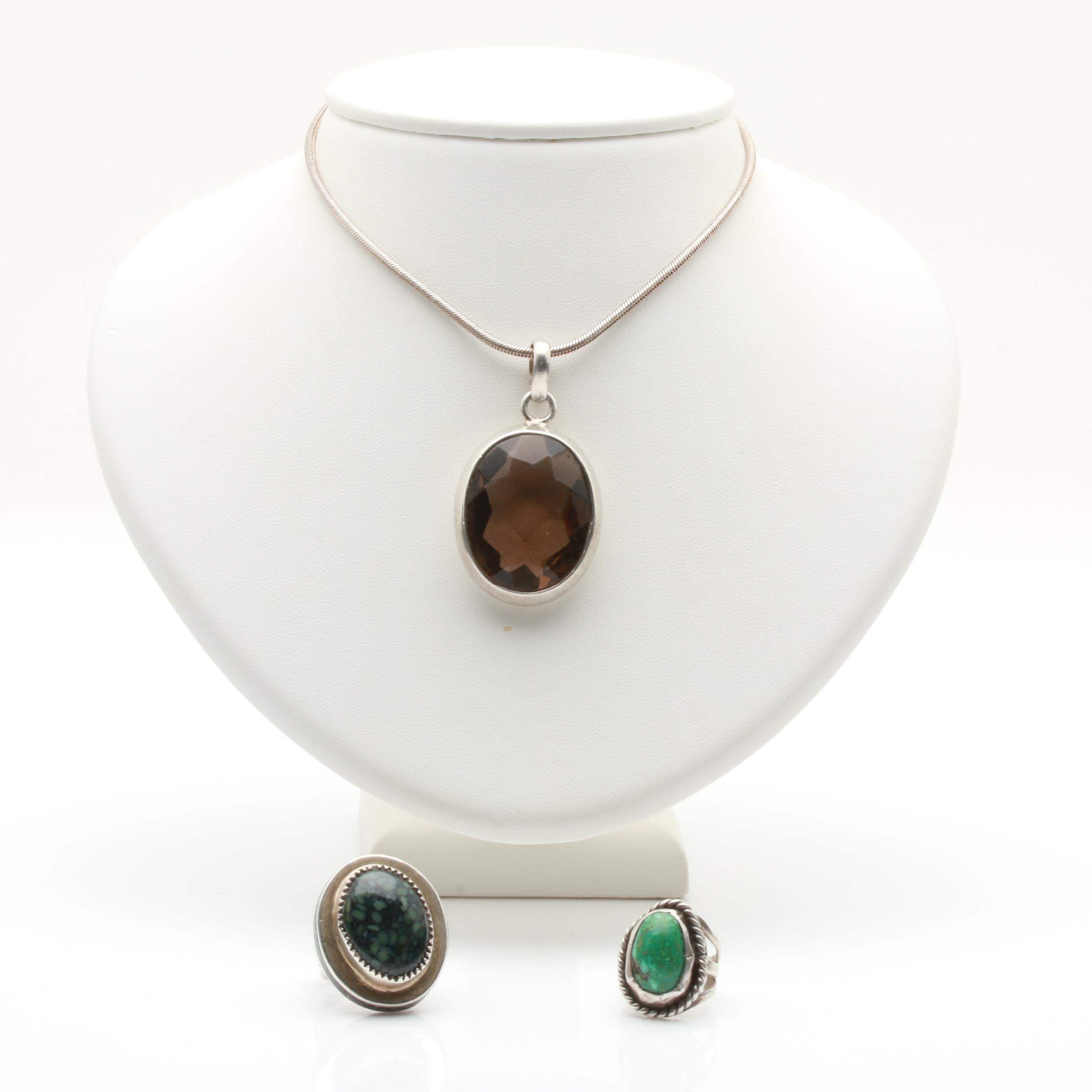 Sterling Silver Rings and Necklace Including Turquoise and Varisite