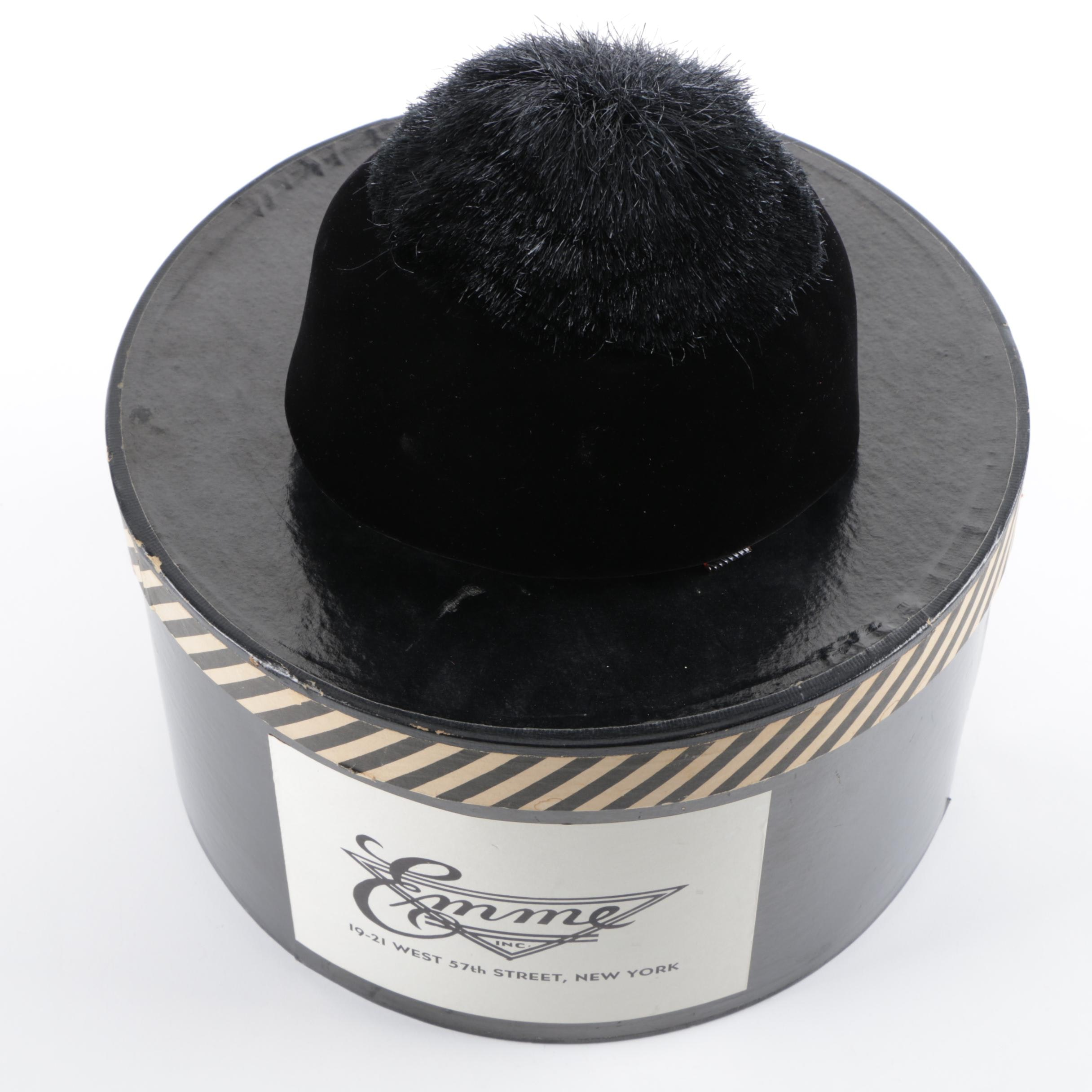 Women's Vintage Emme Inc NYC Velvet Hat with Faux Fur Pom