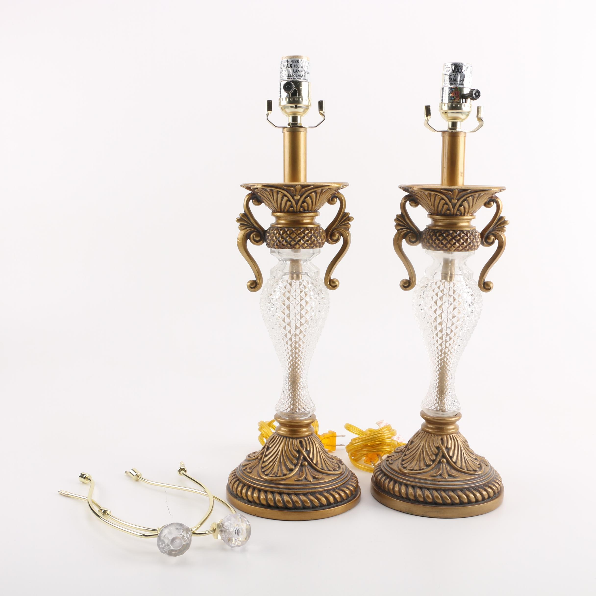 Pair of Ornate Glass Table Lamps