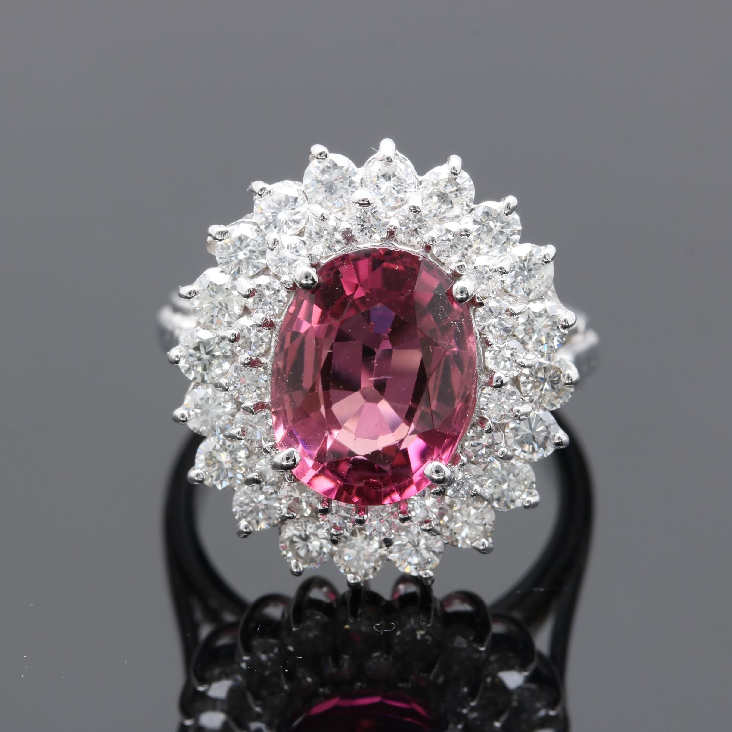 14K White Gold 3.63 CT Pink Tourmaline and 1.50 CTW Diamond Ring