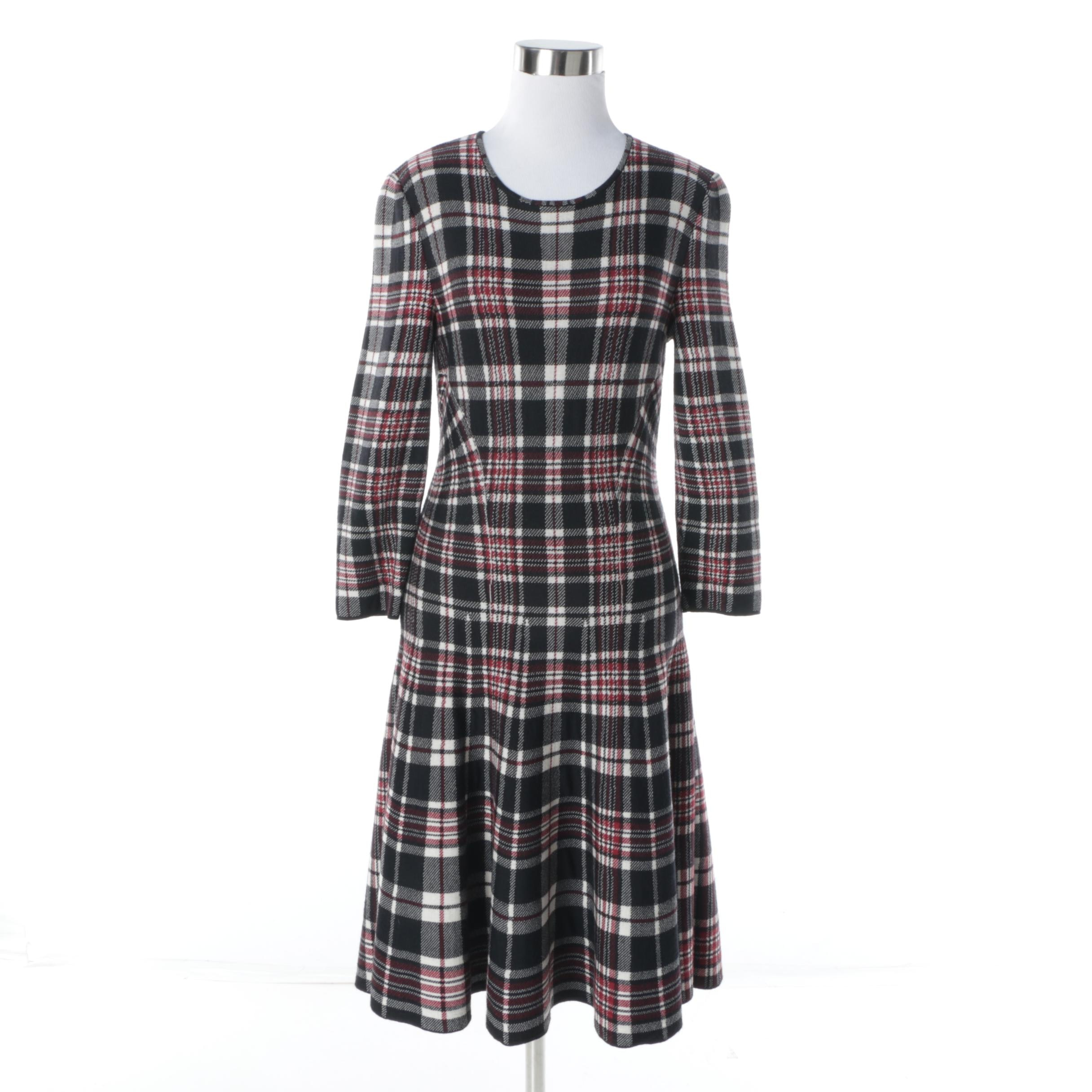 Alexander McQueen Red Plaid Dress, Made in Italy