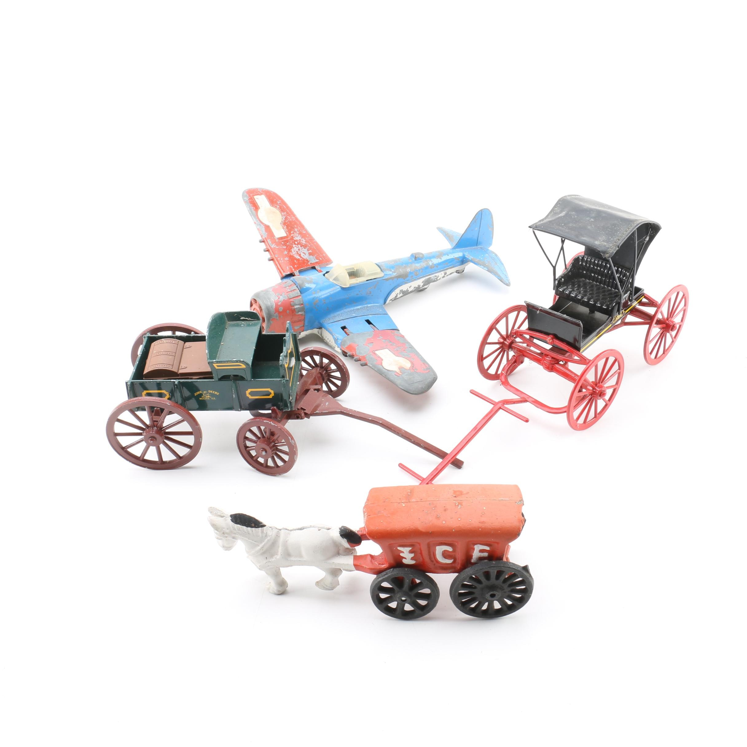 Vintage Die-Cast and Cast Iron Wagons and Plane