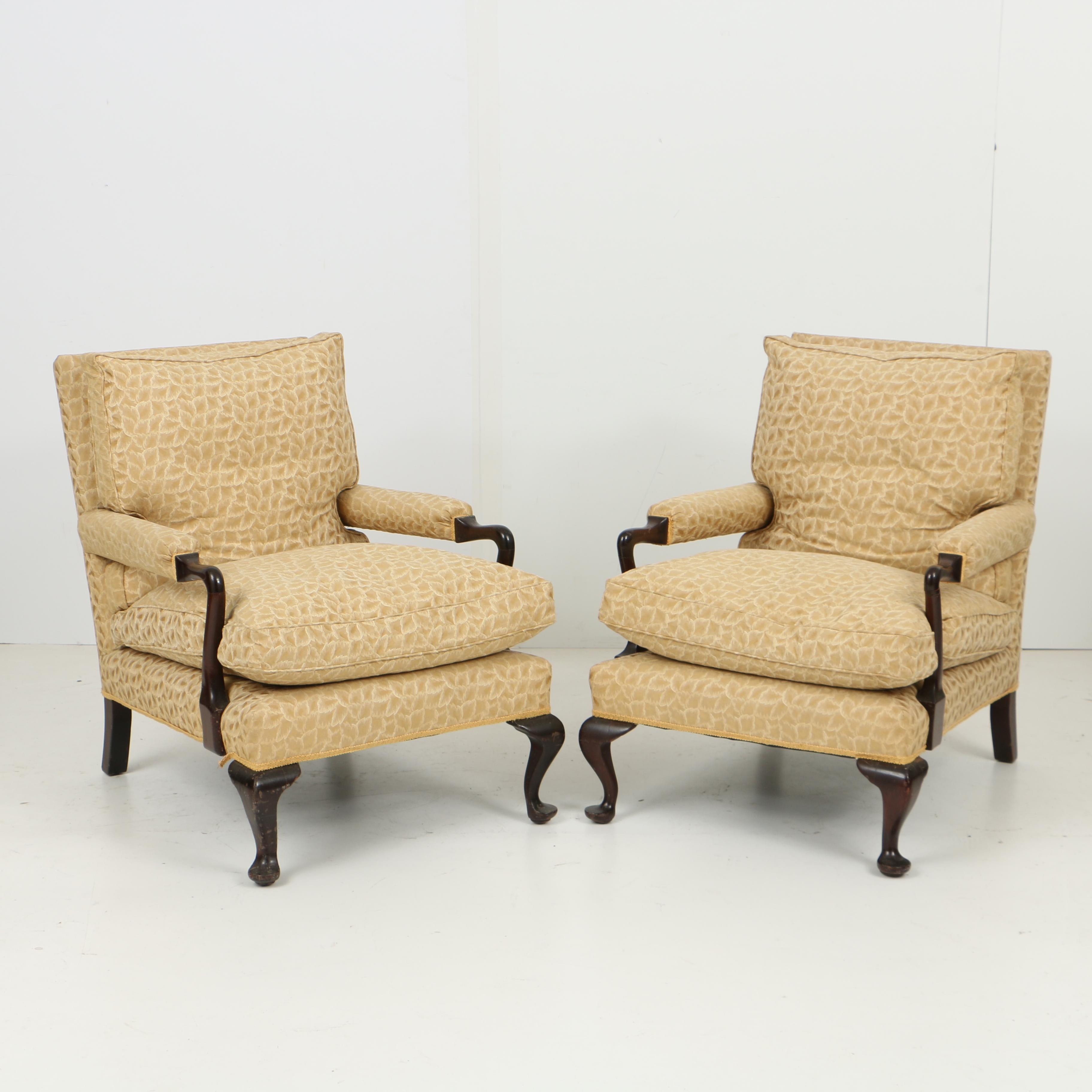 Vintage Queen Anne Style Lounge Chairs In Custom Upholstery ...