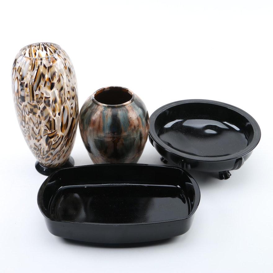 Murano Venetian Glass Vase Amethyst Glass Bowls And Earthenware