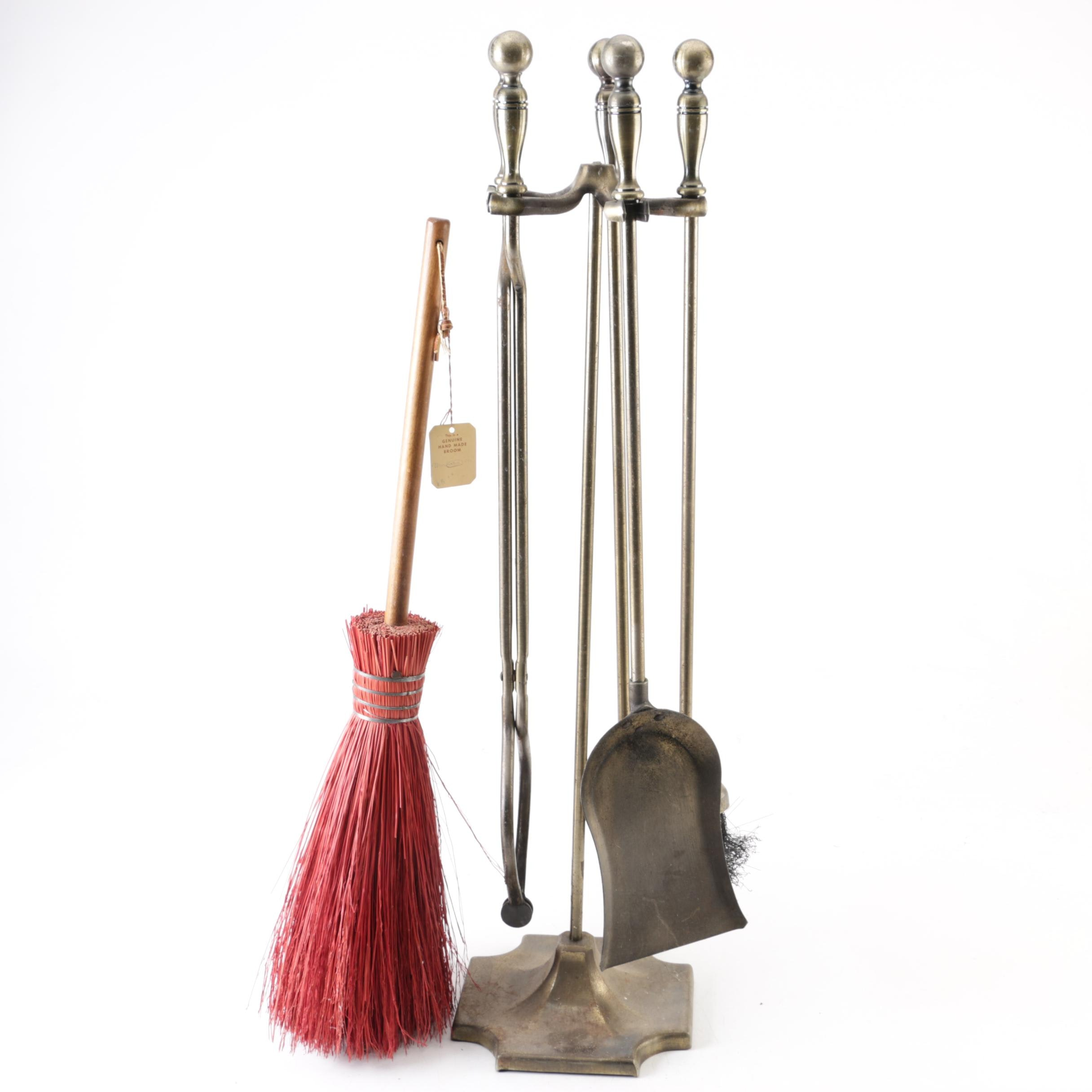 Fireplace Tools and Stand with Handcrafted Whisk Broom