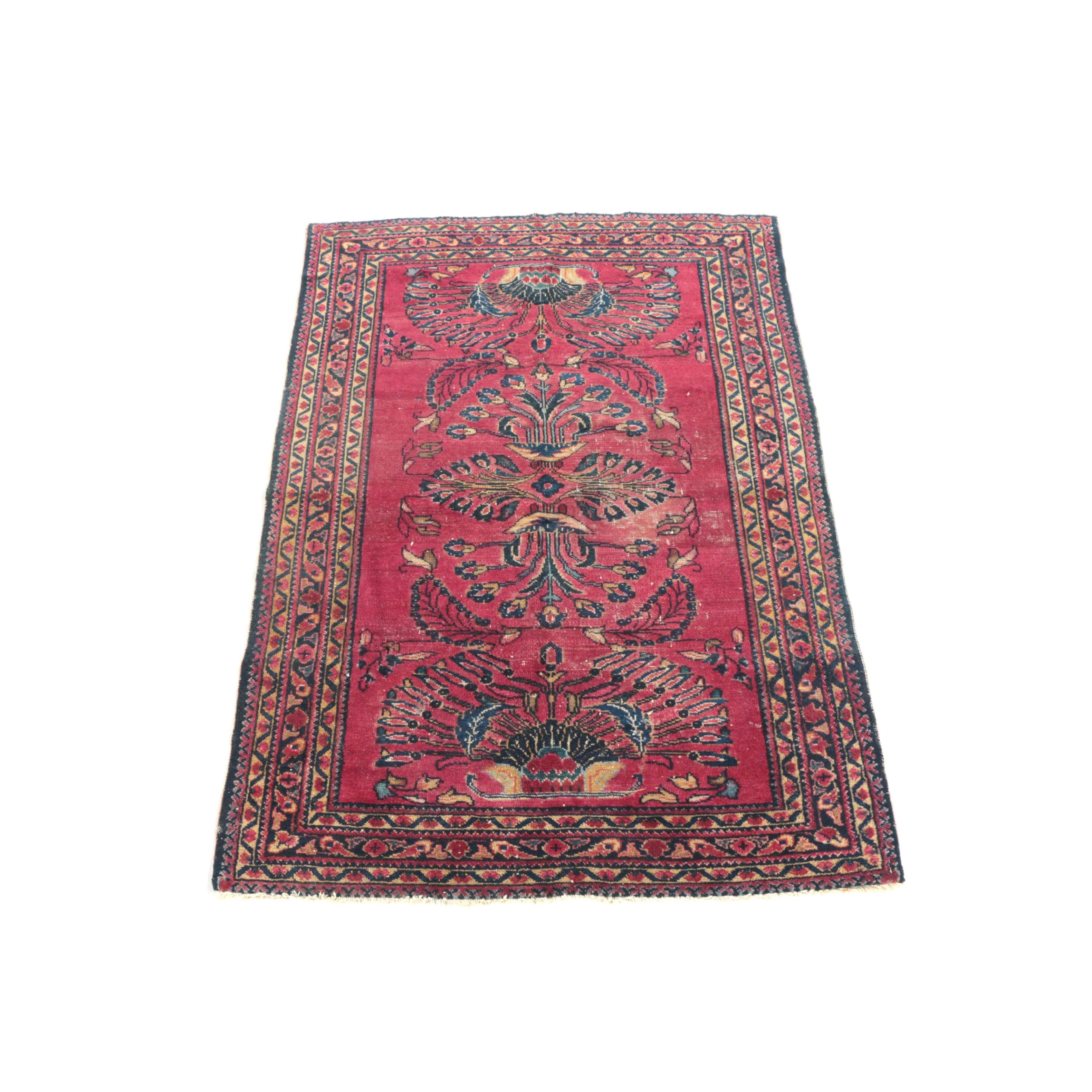 Hand-Knotted Painted Hamadan Wool Accent Rug