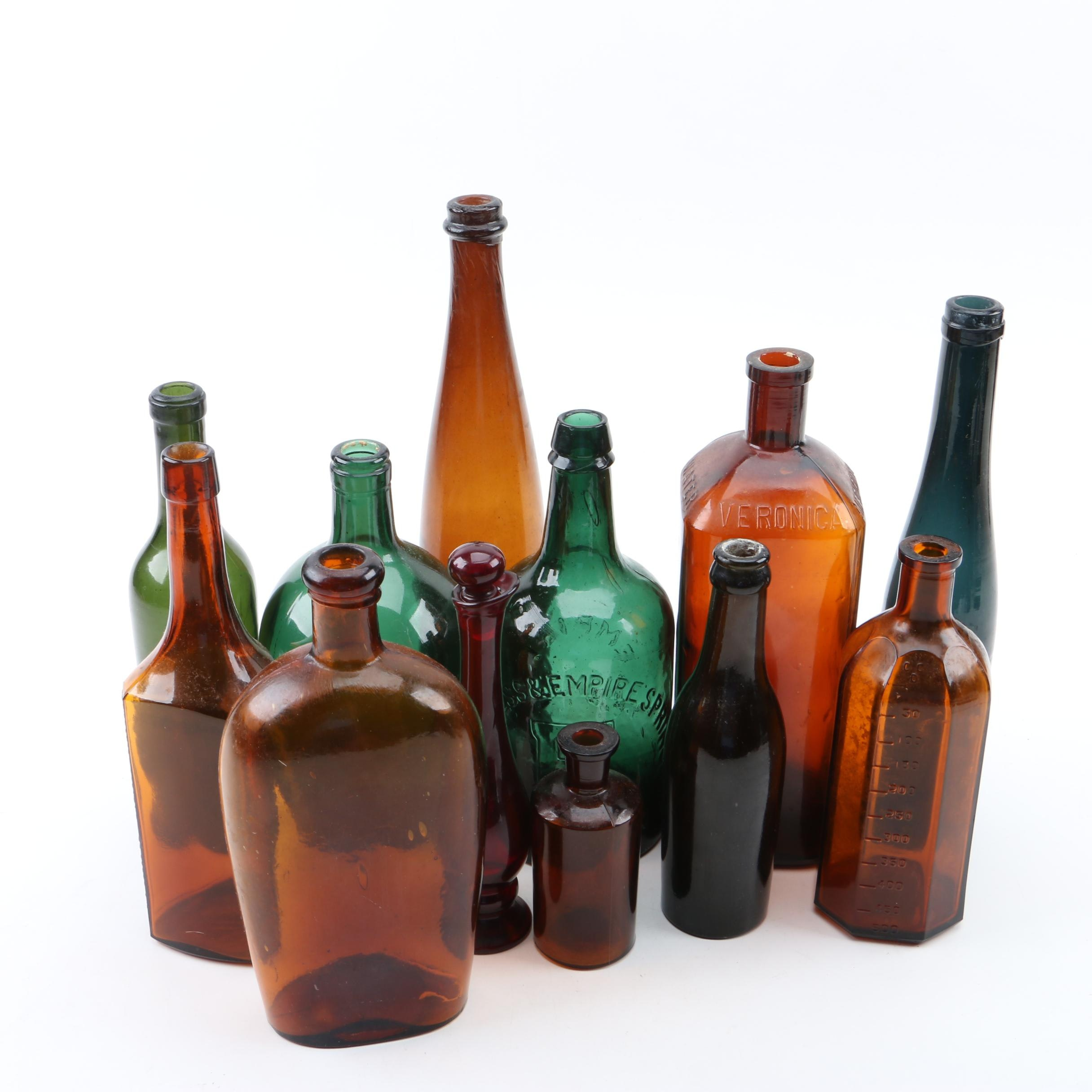 Antique Congress & Empire Spring Co. and Vintage Glass Bottles