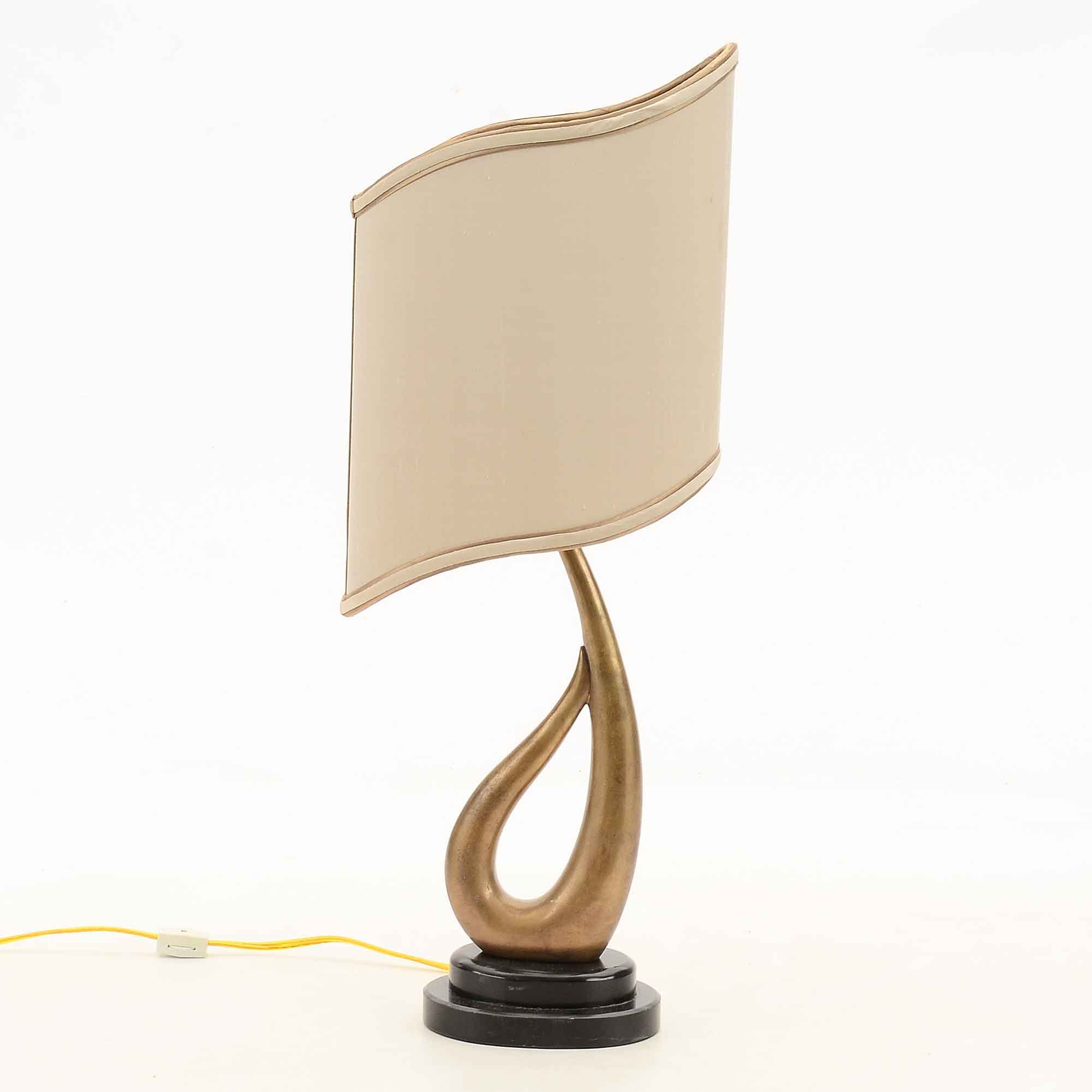 Vintage Brass Table Lamp with Sculptural Shade