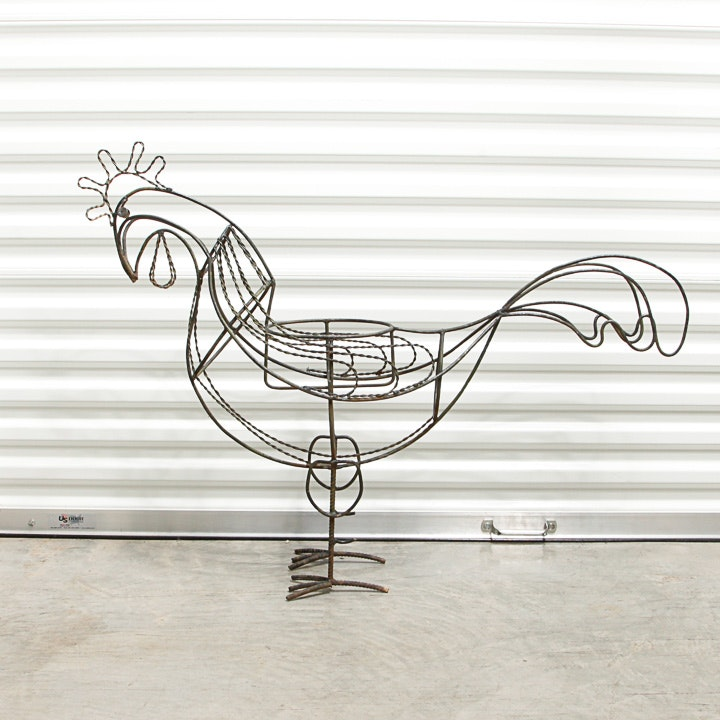 Open Scroll Work Metal Rooster Plant Stand