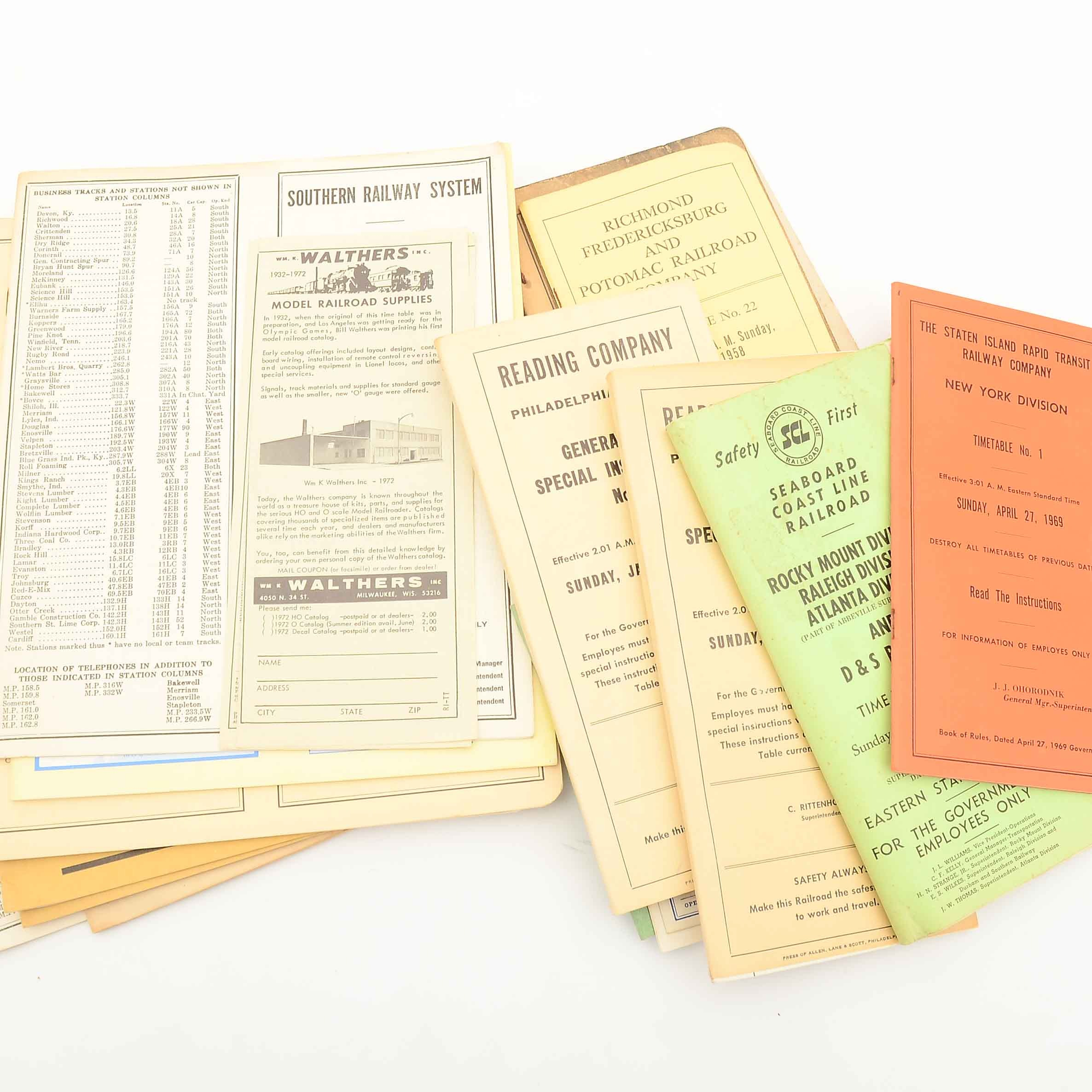 Collection of Vintage Railroad Employee Time Tables