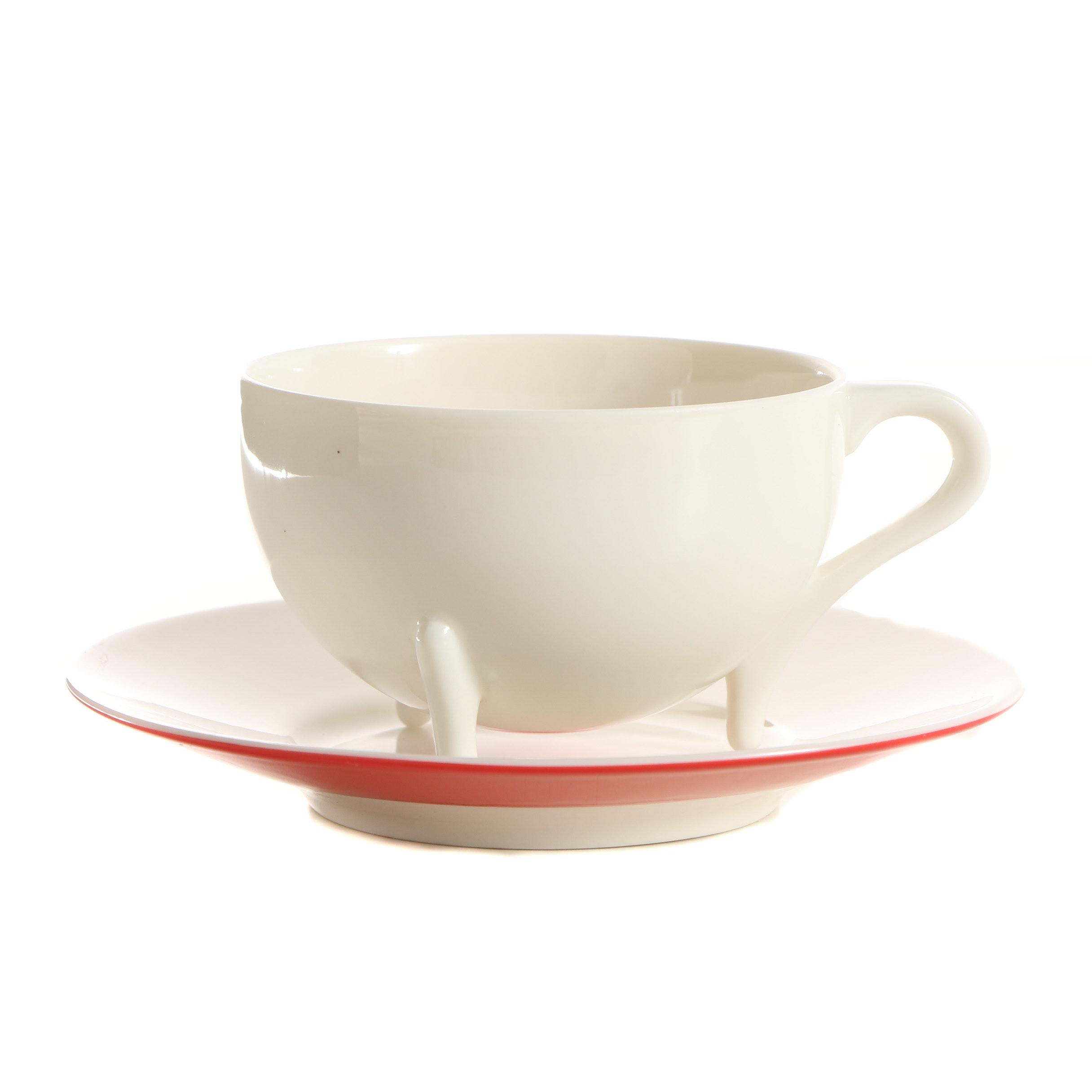 "Oscar Tusquets Blanca ""Victoria"" Porcelain Teacup and Saucer"