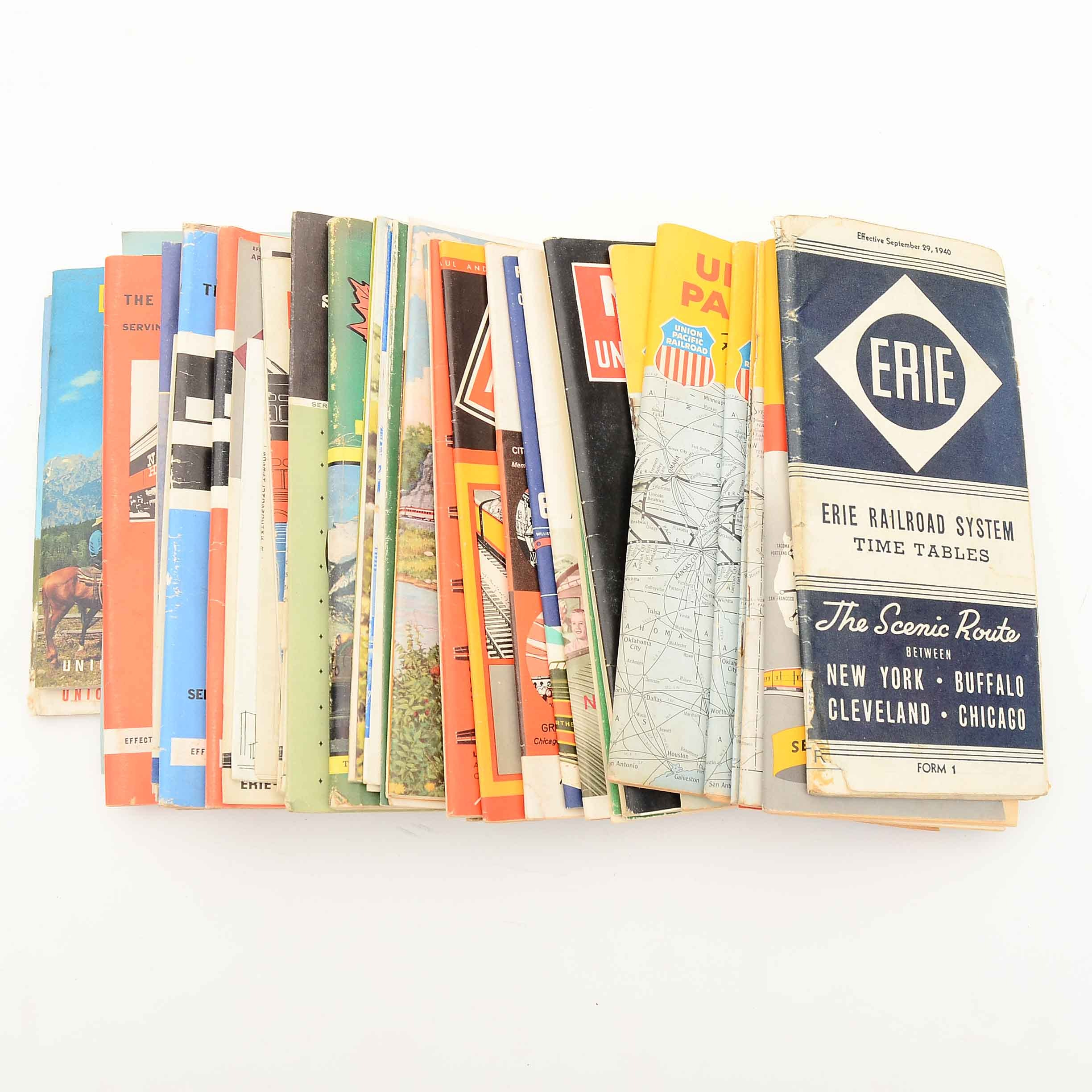 Collection of Vintage Railroad Time Tables